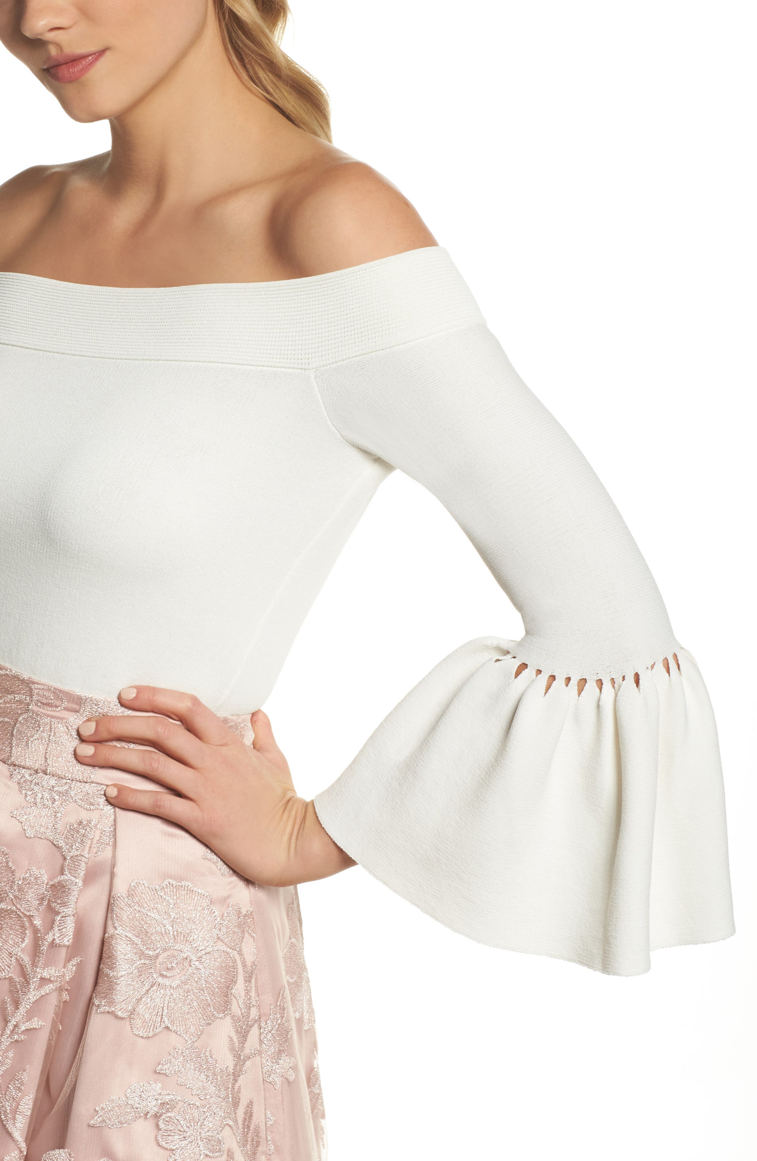 Off the Shoulder Bell Sleeve Top,                             Alternate thumbnail 8, color,