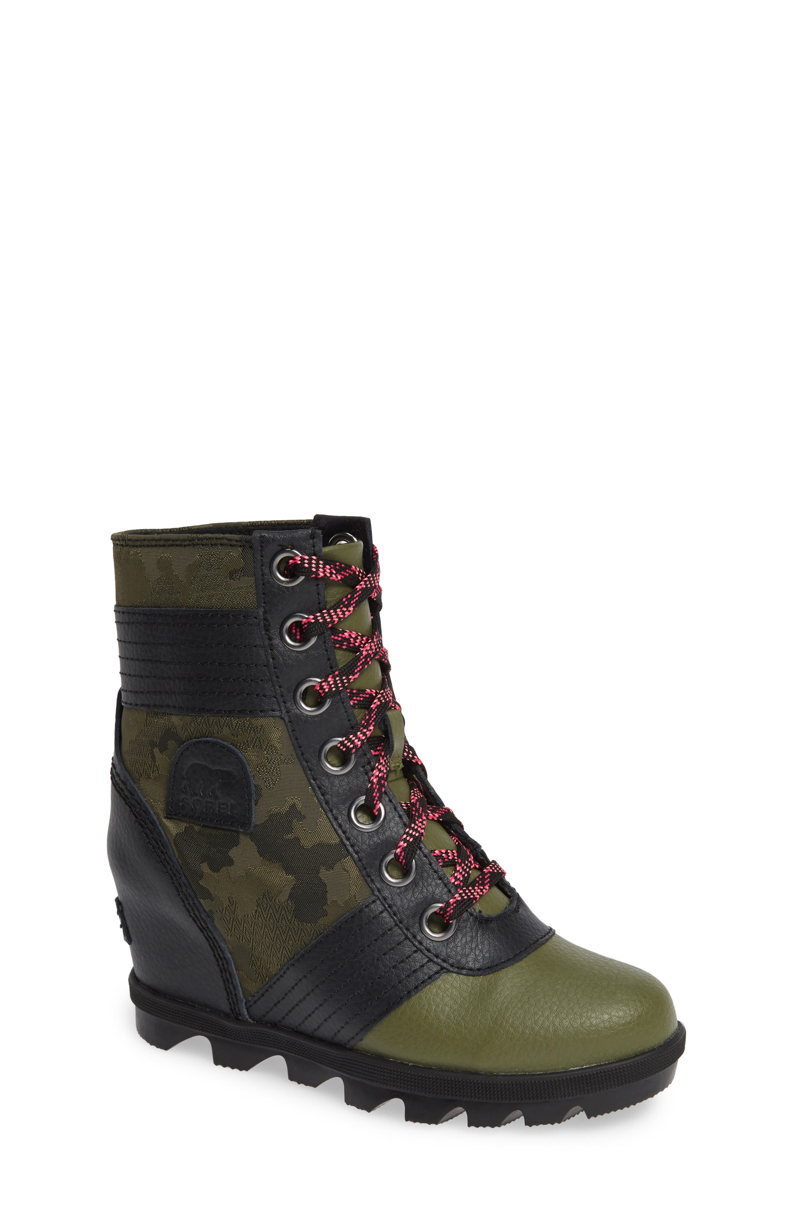 Lexie Waterproof Wedge Bootie,                         Main,                         color, HIKER GREEN/ BLACK
