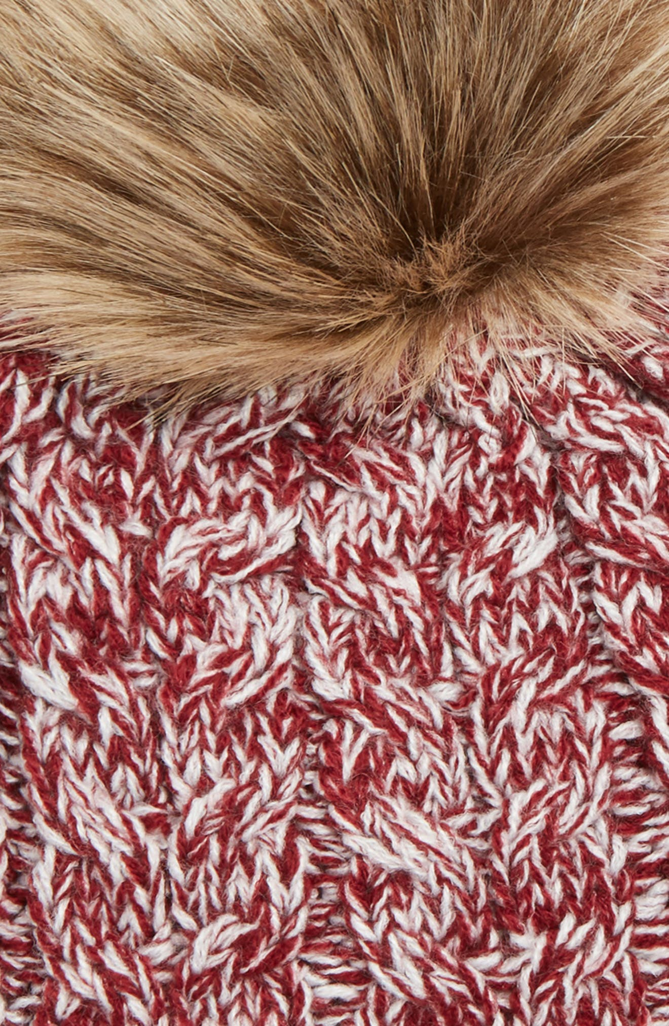 Cable Knit Beanie with Faux Fur Pom,                             Alternate thumbnail 2, color,                             OXBLOOD