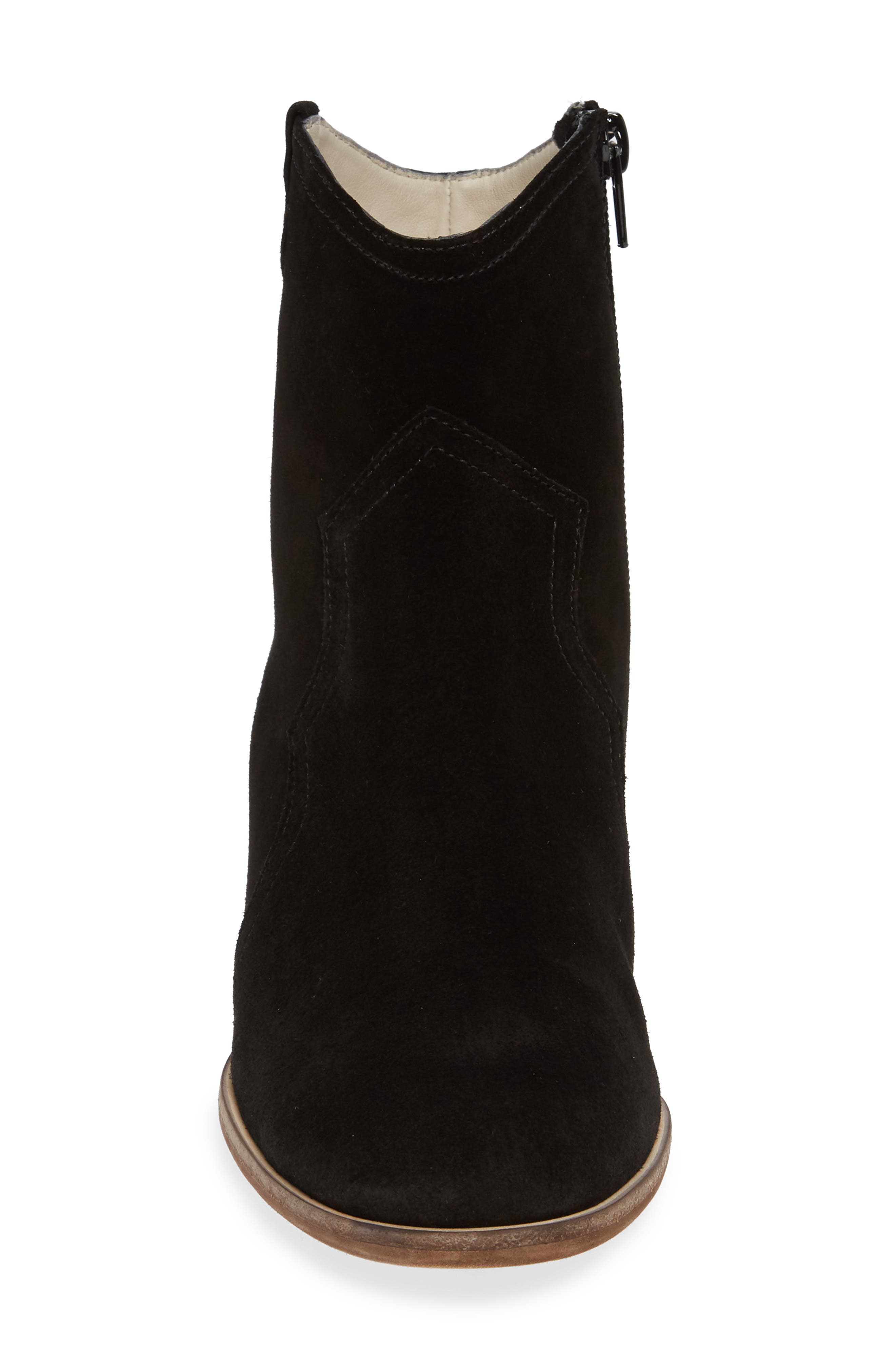 Raggio Western Bootie,                             Alternate thumbnail 4, color,                             BLACK VELOUR SUEDE