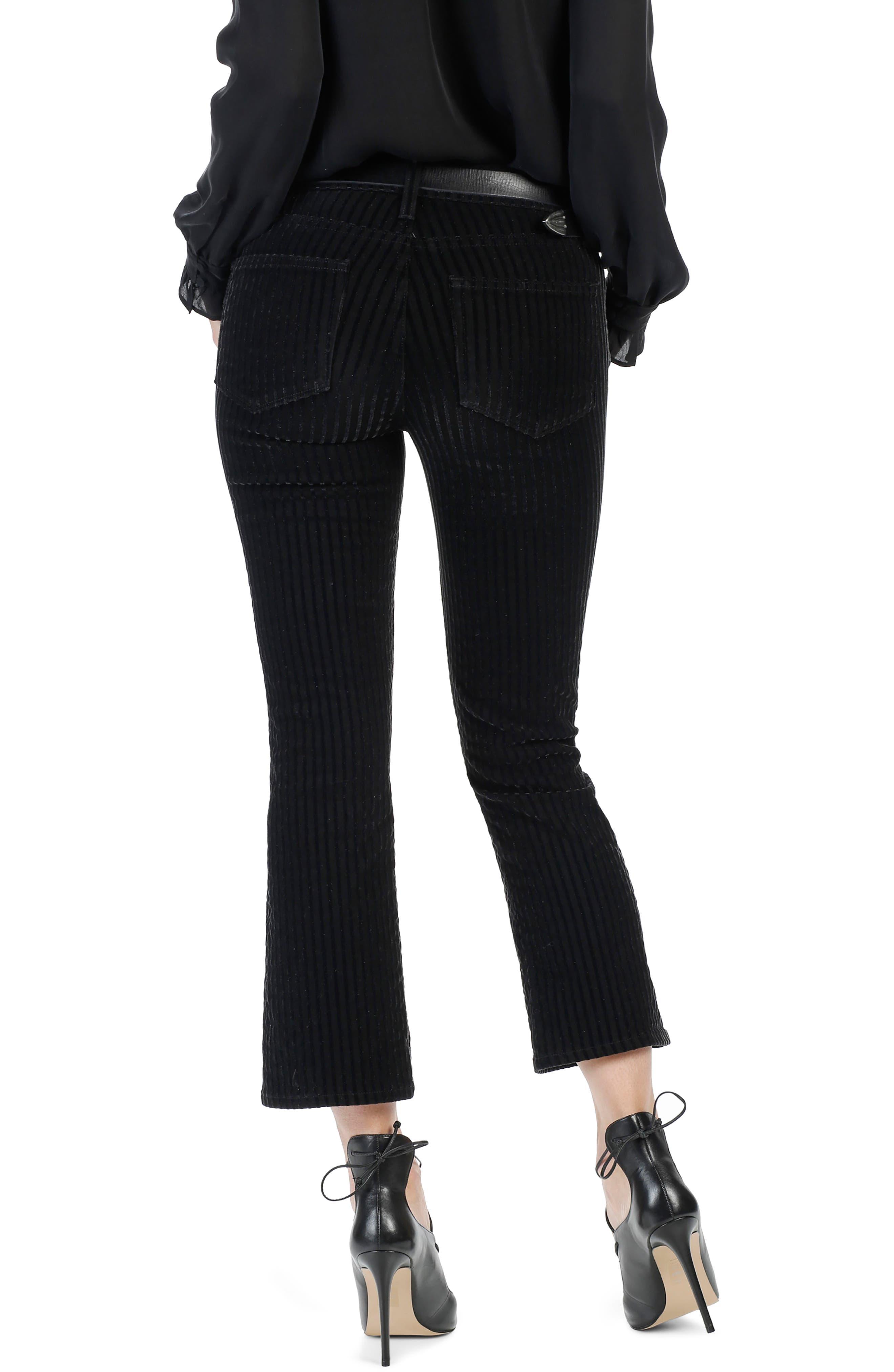Colette High Waist Crop Flare Velvet Pants,                             Alternate thumbnail 3, color,                             001