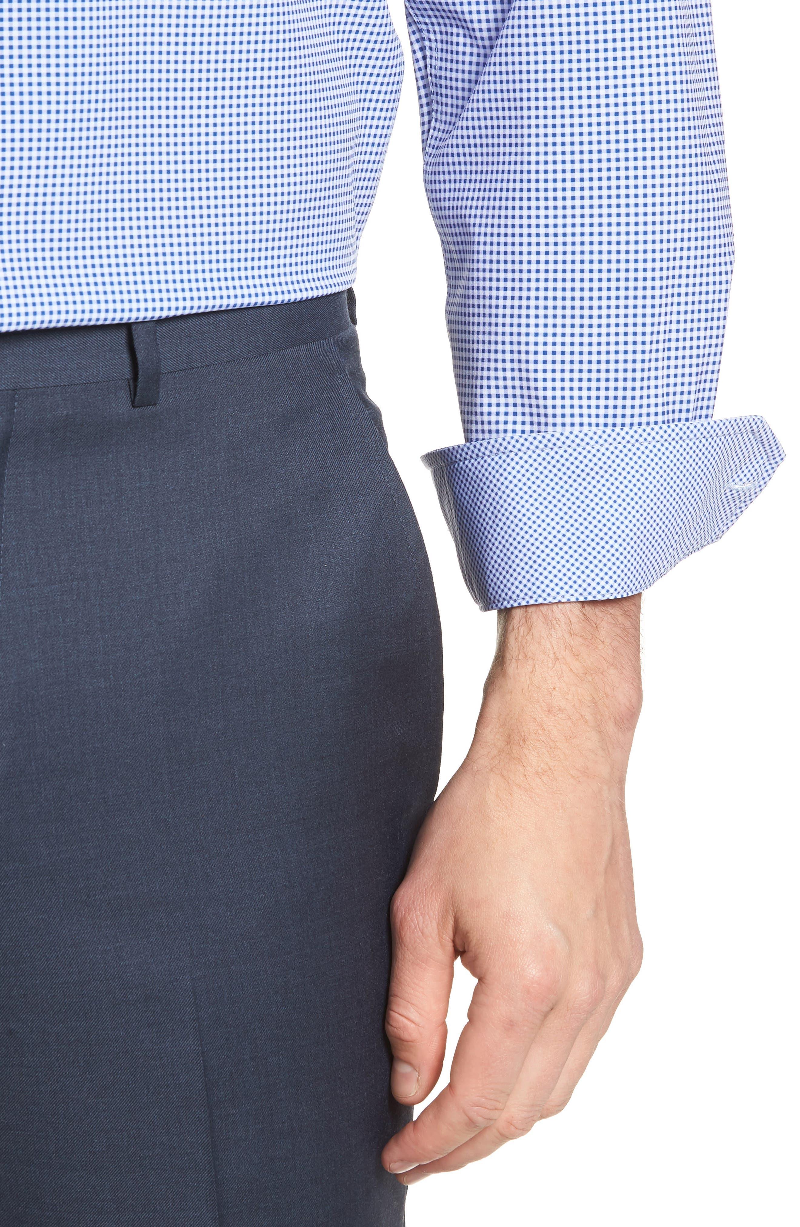Trim Fit Check 4-Way Stretch Dress Shirt,                             Alternate thumbnail 2, color,                             LILAC