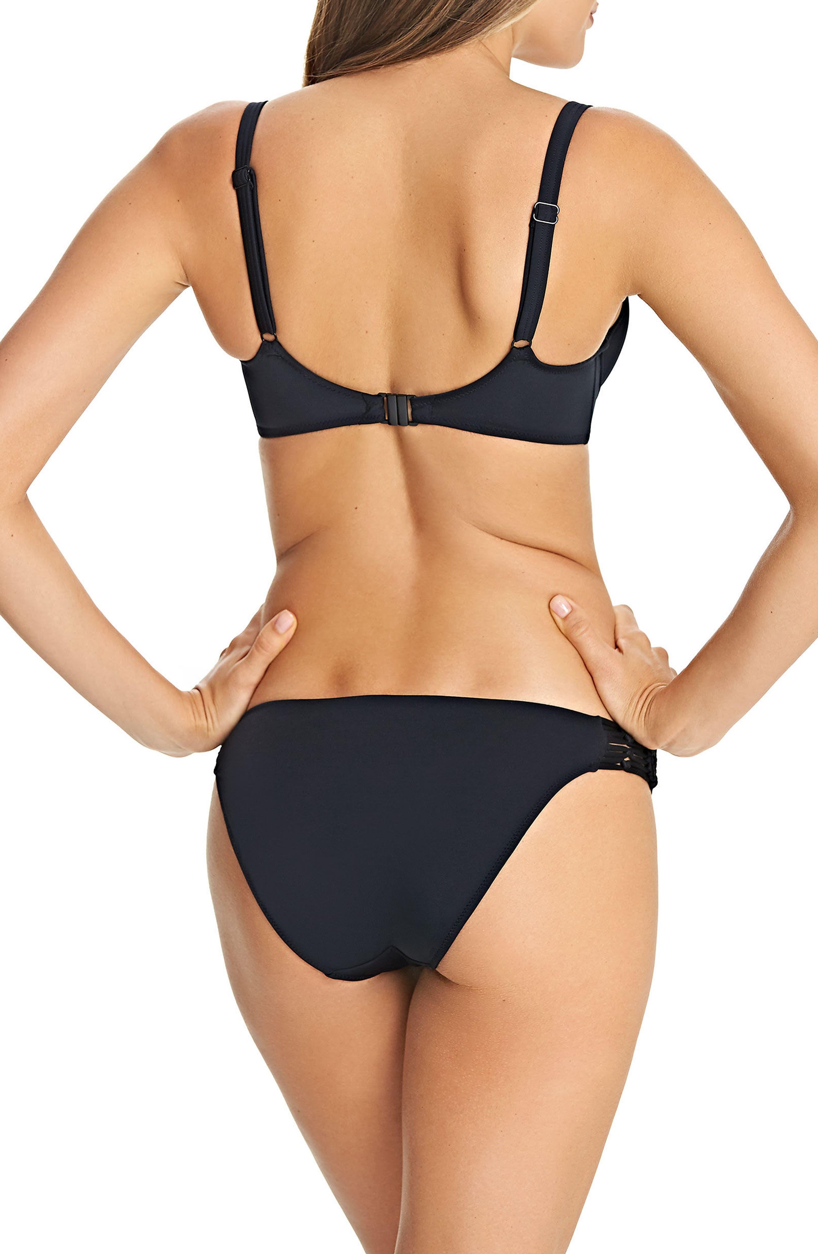 Underwire Macramé Bikini Top,                             Alternate thumbnail 4, color,                             001