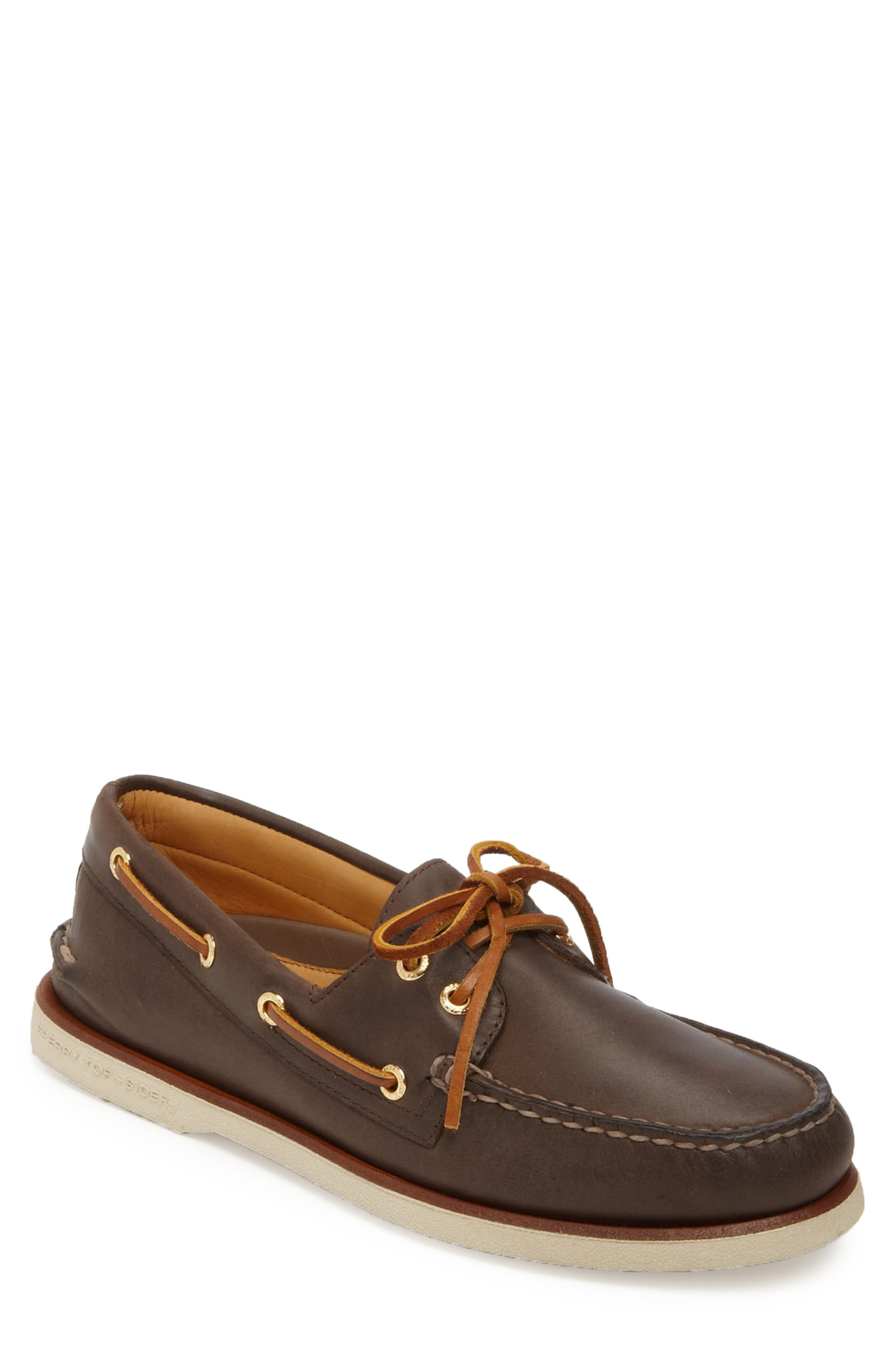 'Gold Cup - Authentic Original' Boat Shoe,                             Main thumbnail 1, color,                             DARK BROWN LEATHER