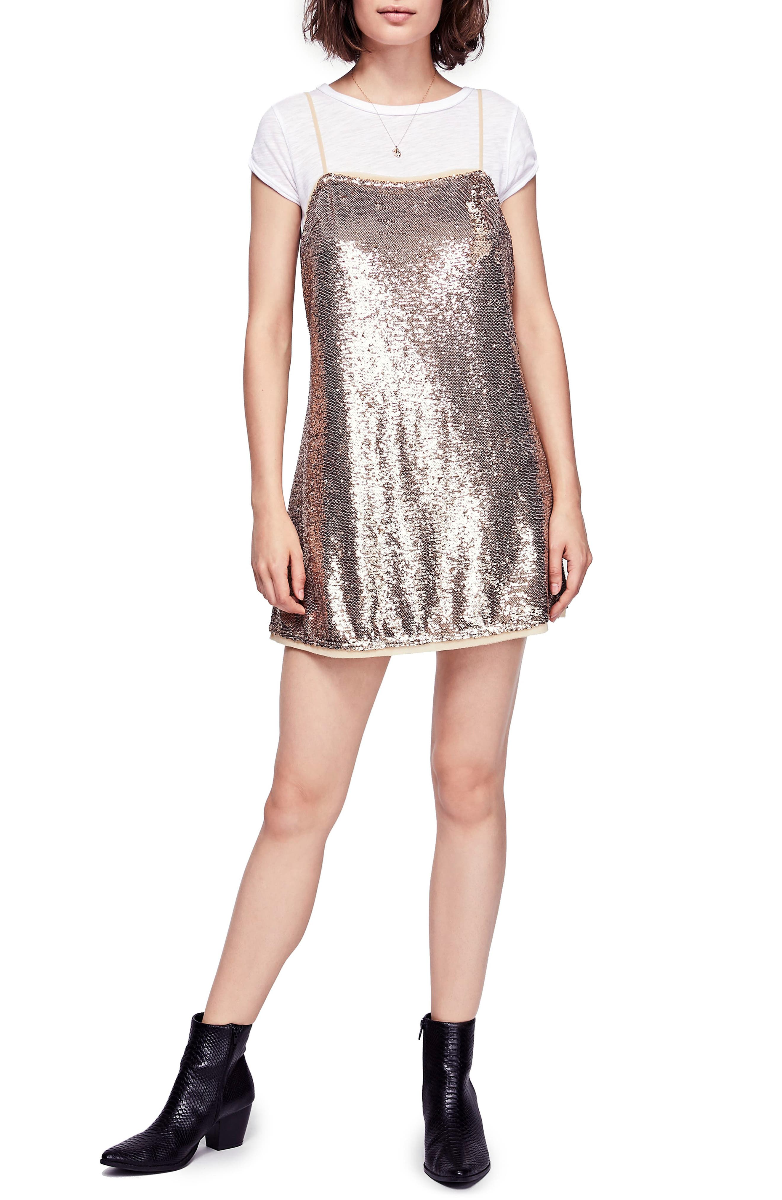 Time to Shine Sequin Slipdress,                         Main,                         color, GOLD