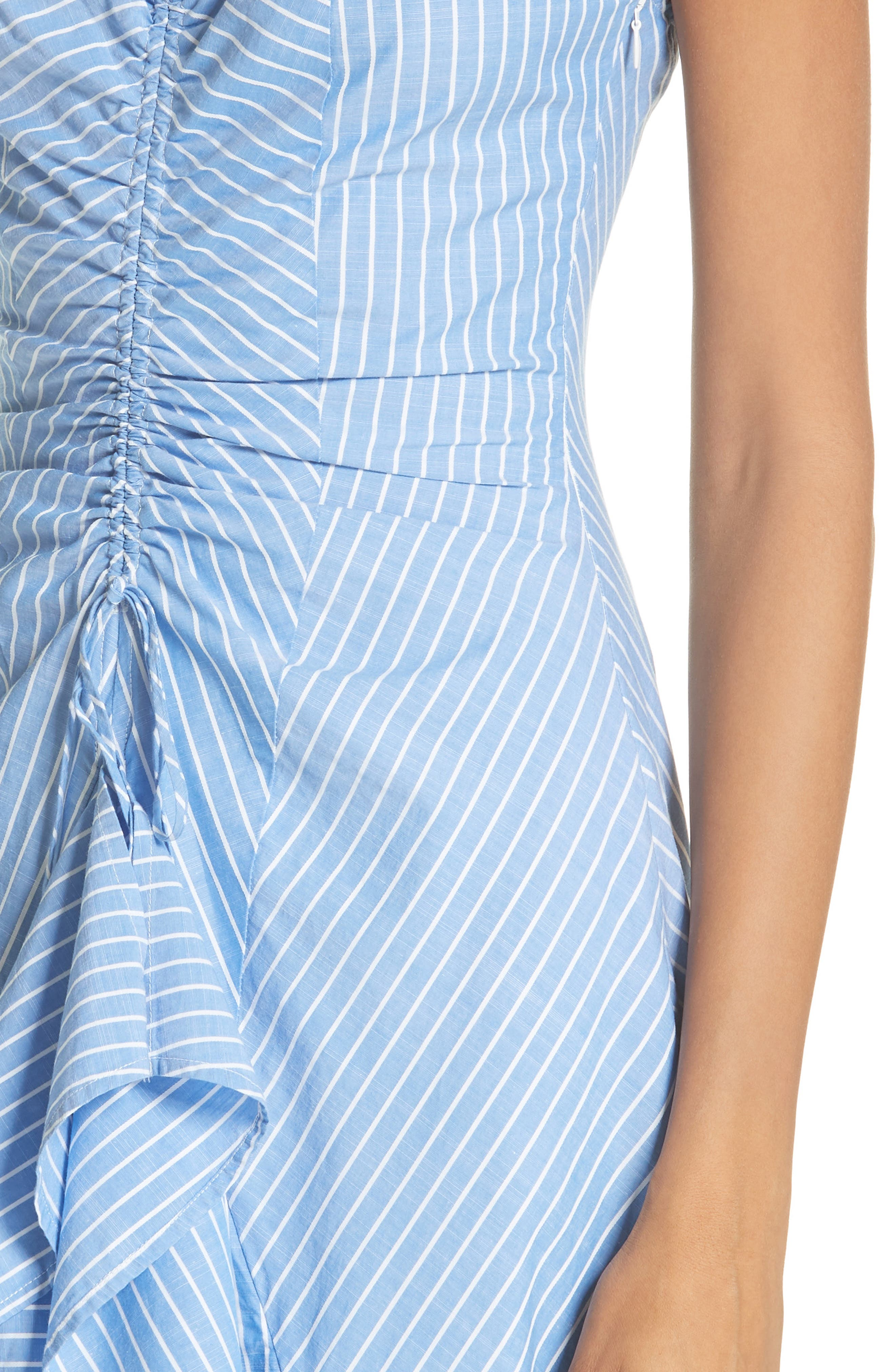 Eberta Stripe High/Low Dress,                             Alternate thumbnail 4, color,                             FRENCH CHAMBRAY