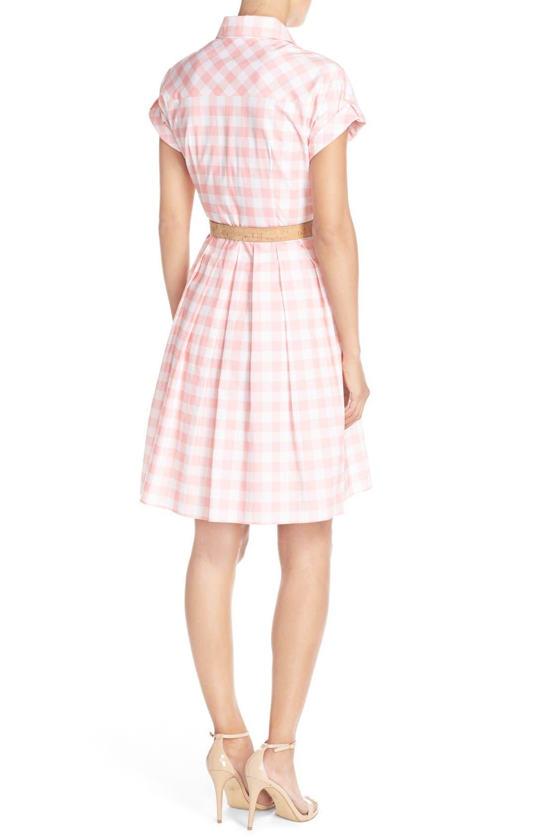 ELIZA J,                             Check Cotton Poplin Shirtdress,                             Alternate thumbnail 3, color,                             660