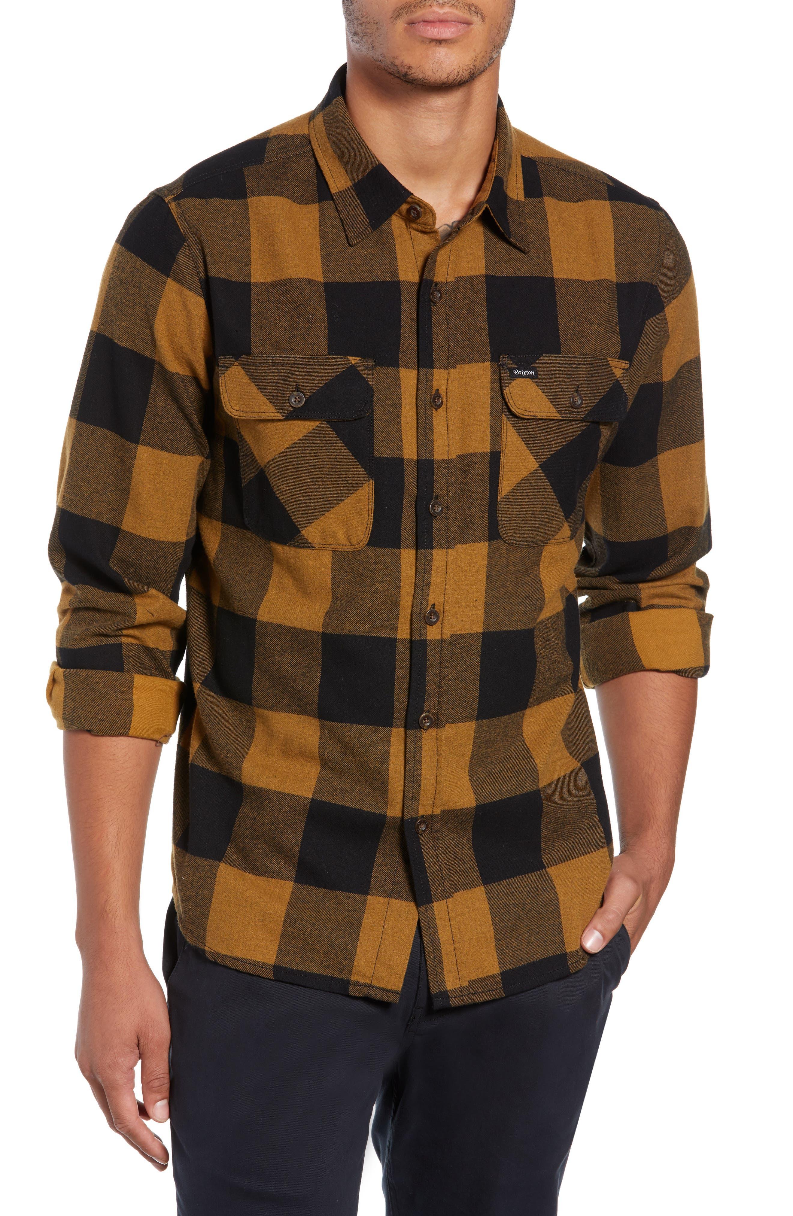 Bowery Buffalo Plaid Flannel Shirt,                             Main thumbnail 1, color,                             BLACK/ BRONZE