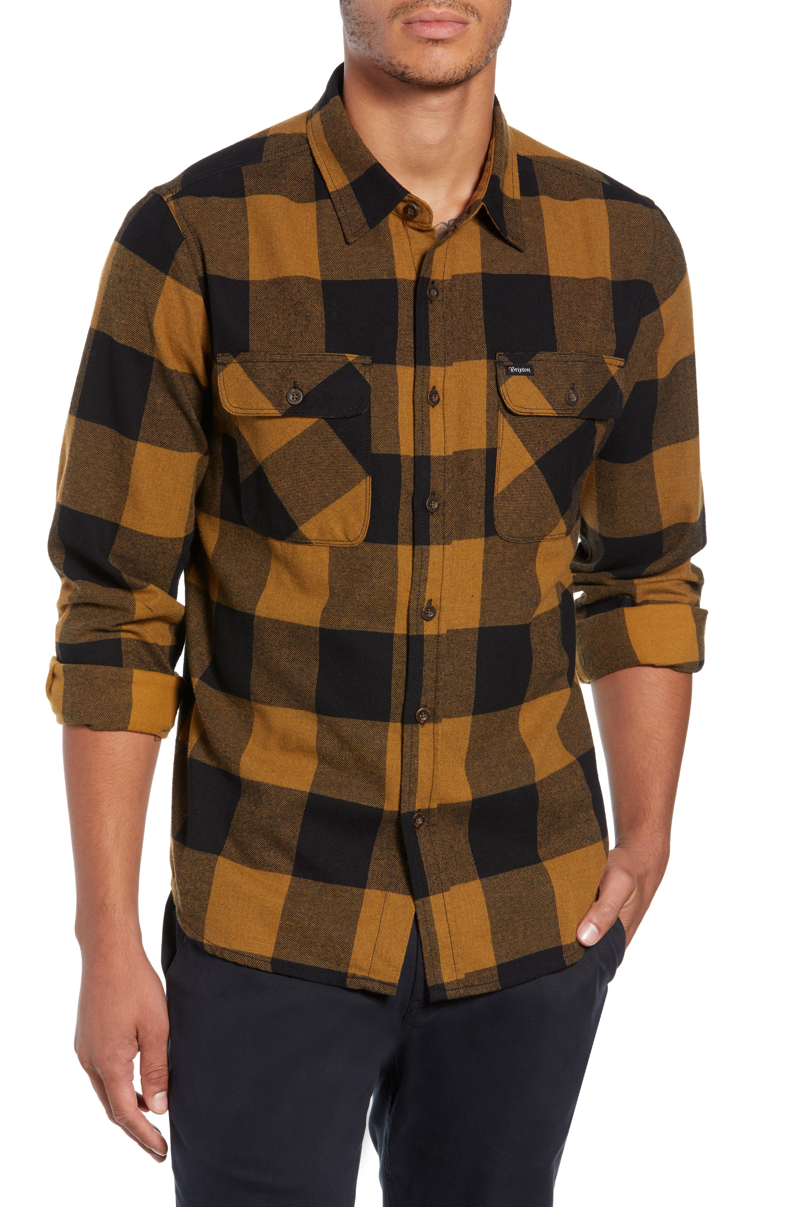 Bowery Buffalo Plaid Flannel Shirt,                         Main,                         color, BLACK/ BRONZE