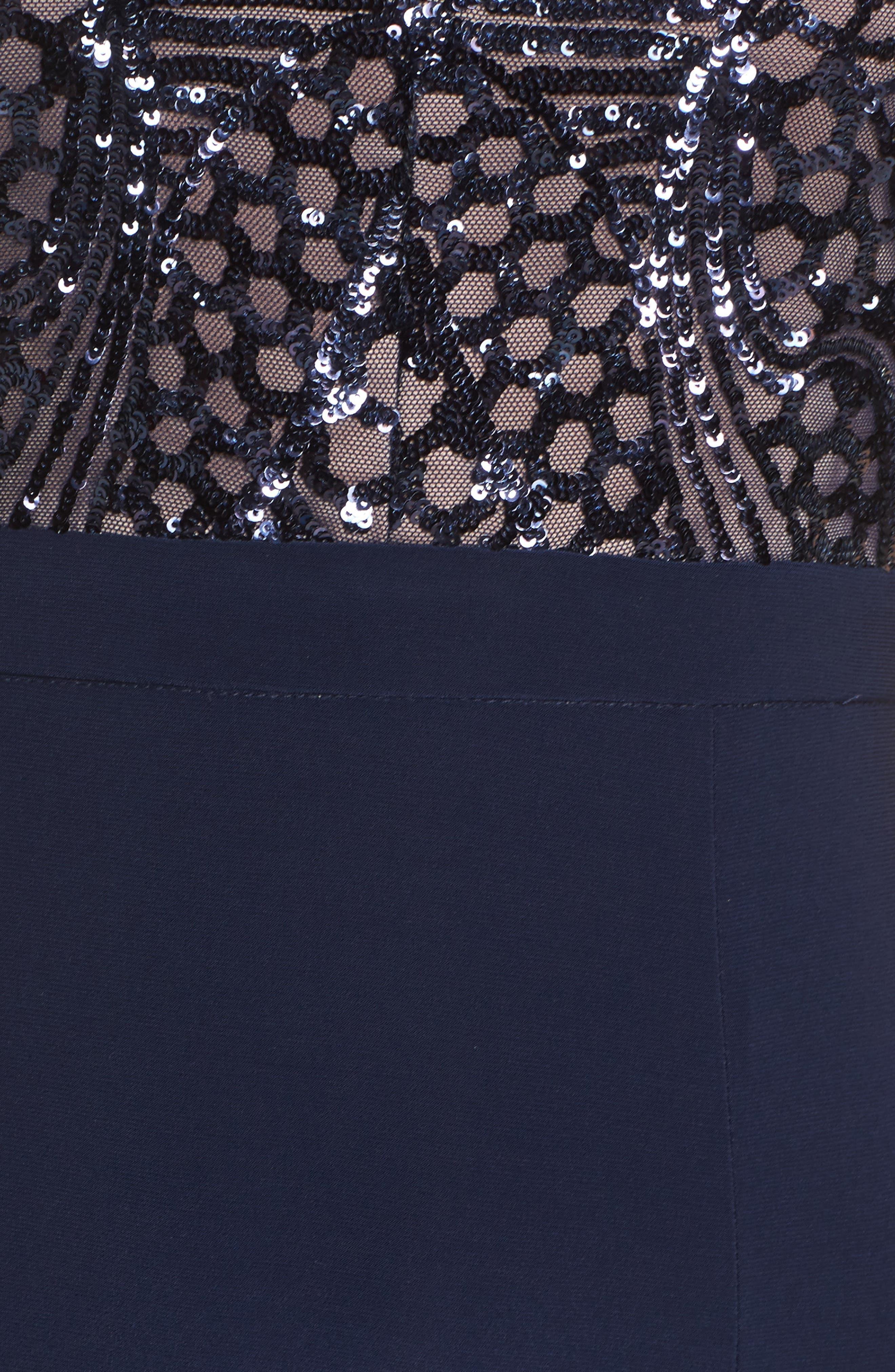 Sequin Bodice Illusion Neck Gown,                             Alternate thumbnail 6, color,