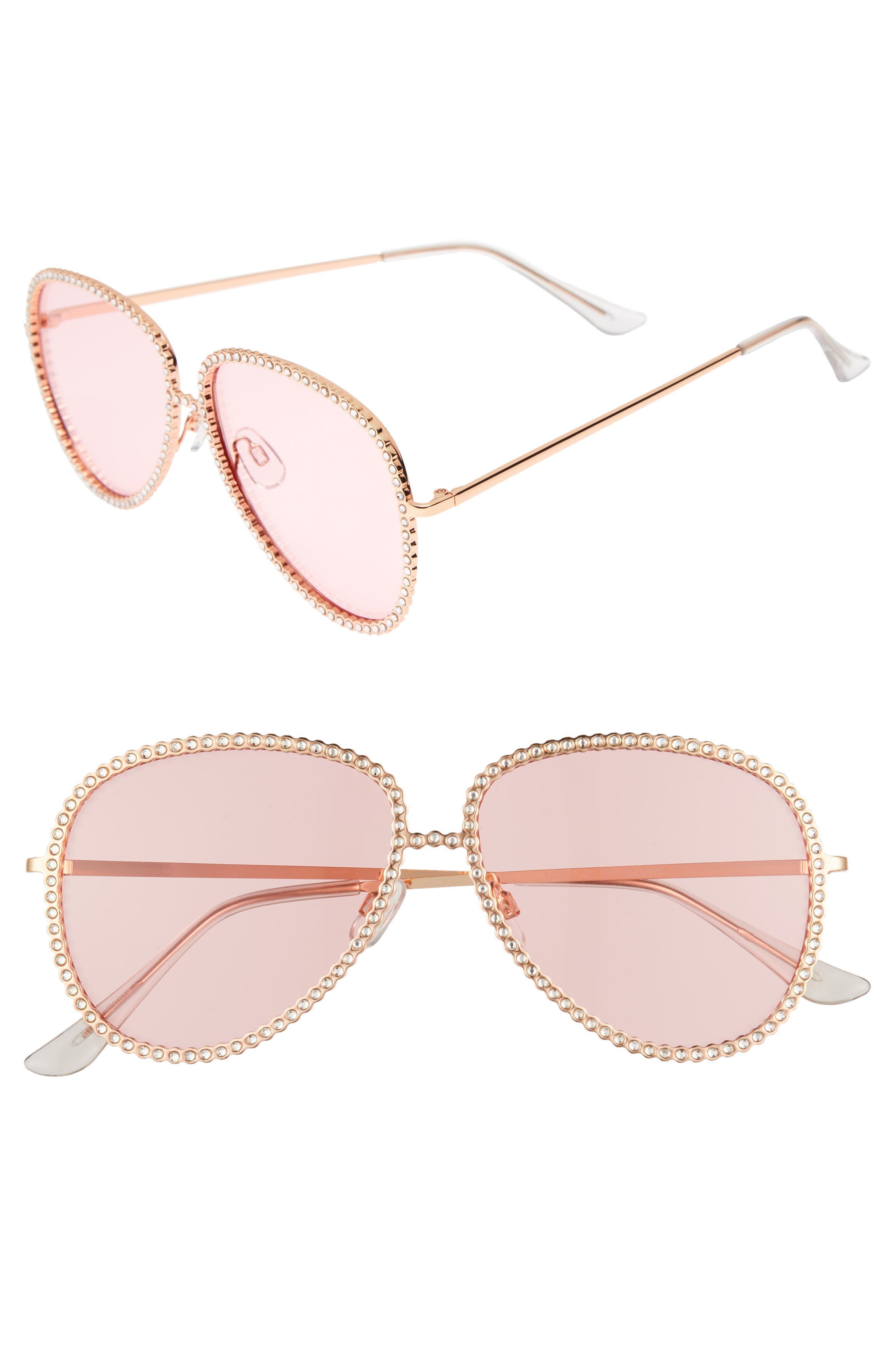 58mm Crystal Aviator Sunglasses,                         Main,                         color,