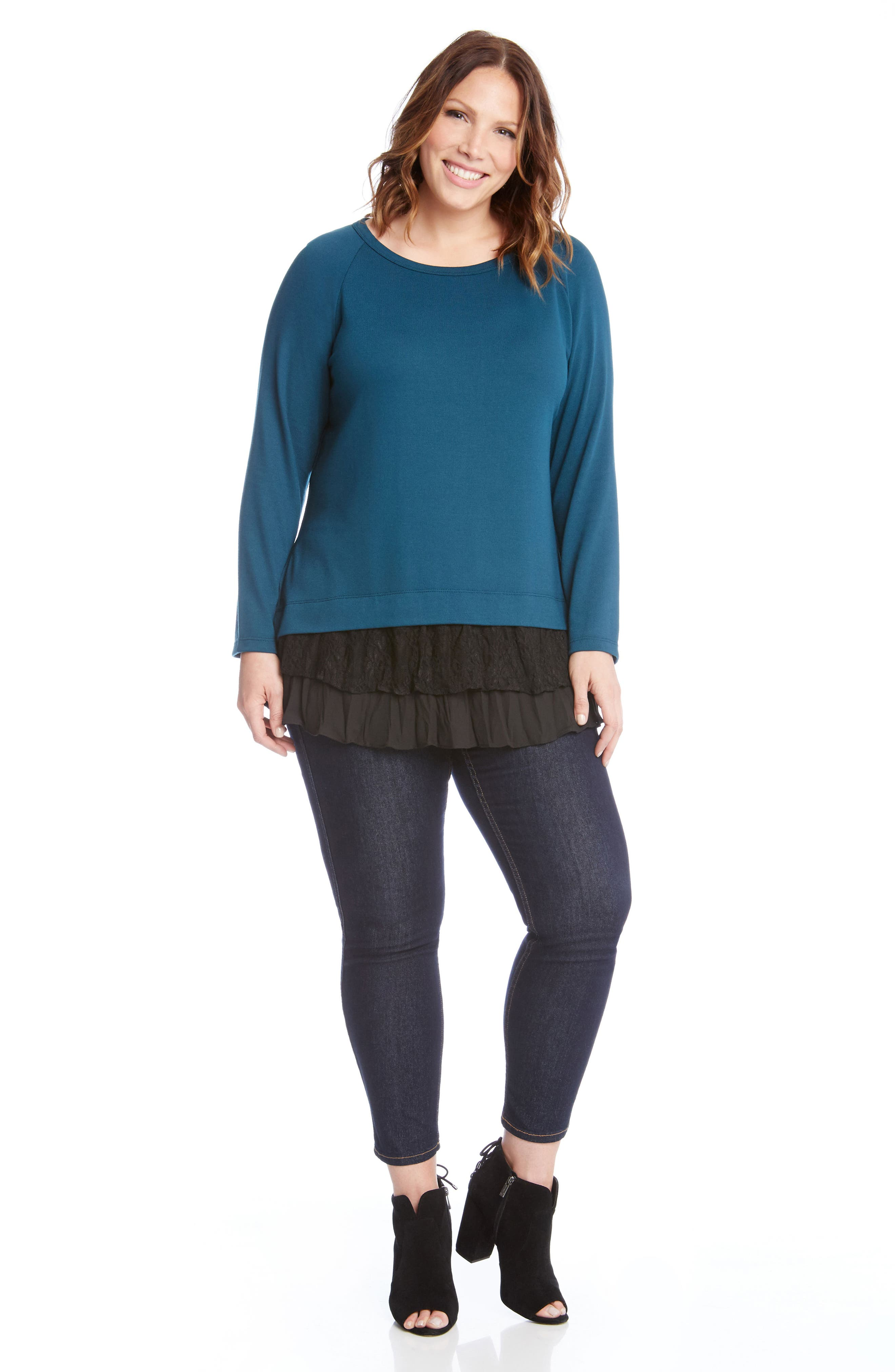 Lace Inset Sweater,                             Alternate thumbnail 3, color,                             340