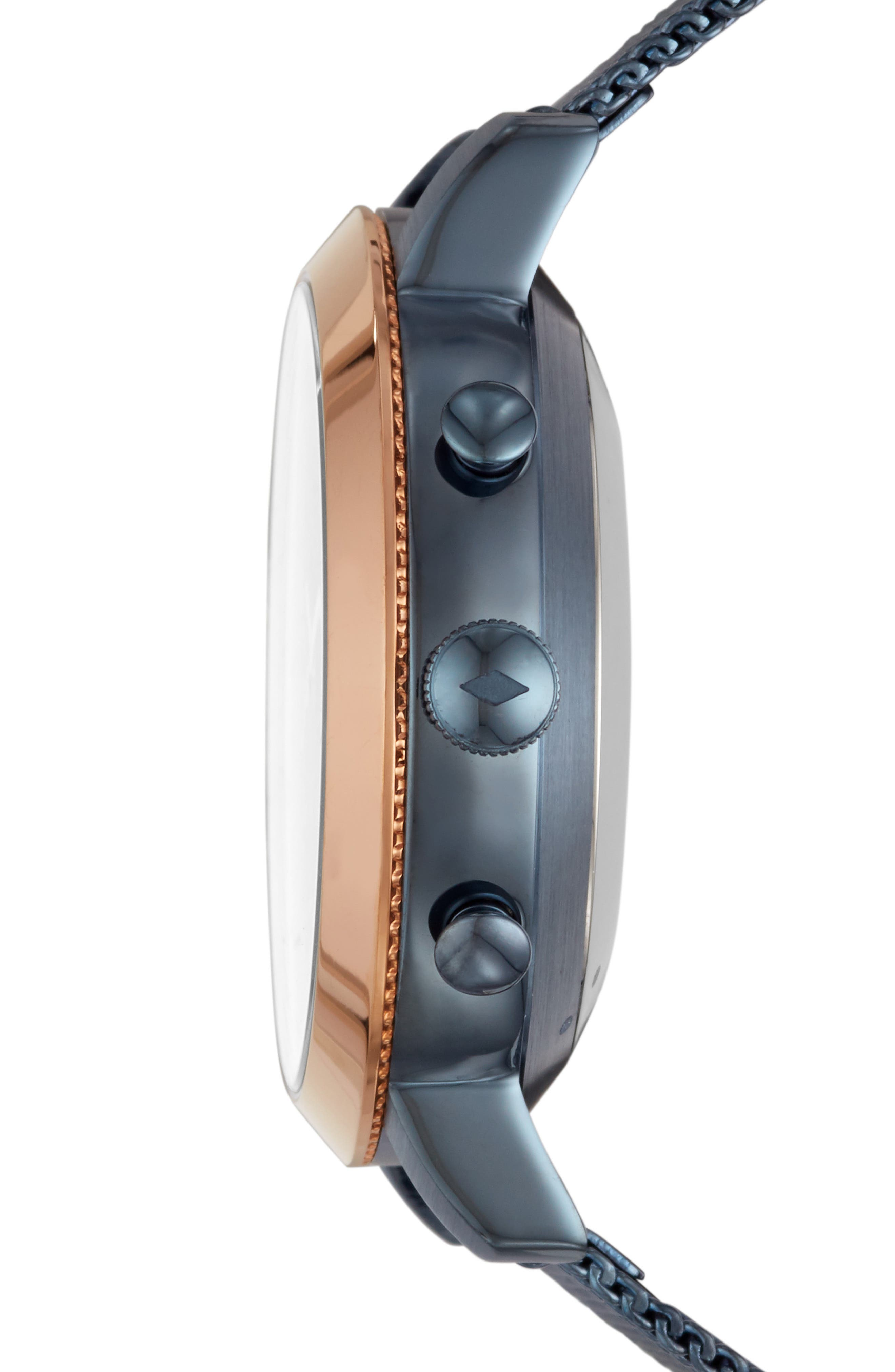 Q Neely Hybrid Stainless Steel Mesh Band Smart Watch, 34mm,                             Alternate thumbnail 3, color,                             BLUE/ ROSE GOLD
