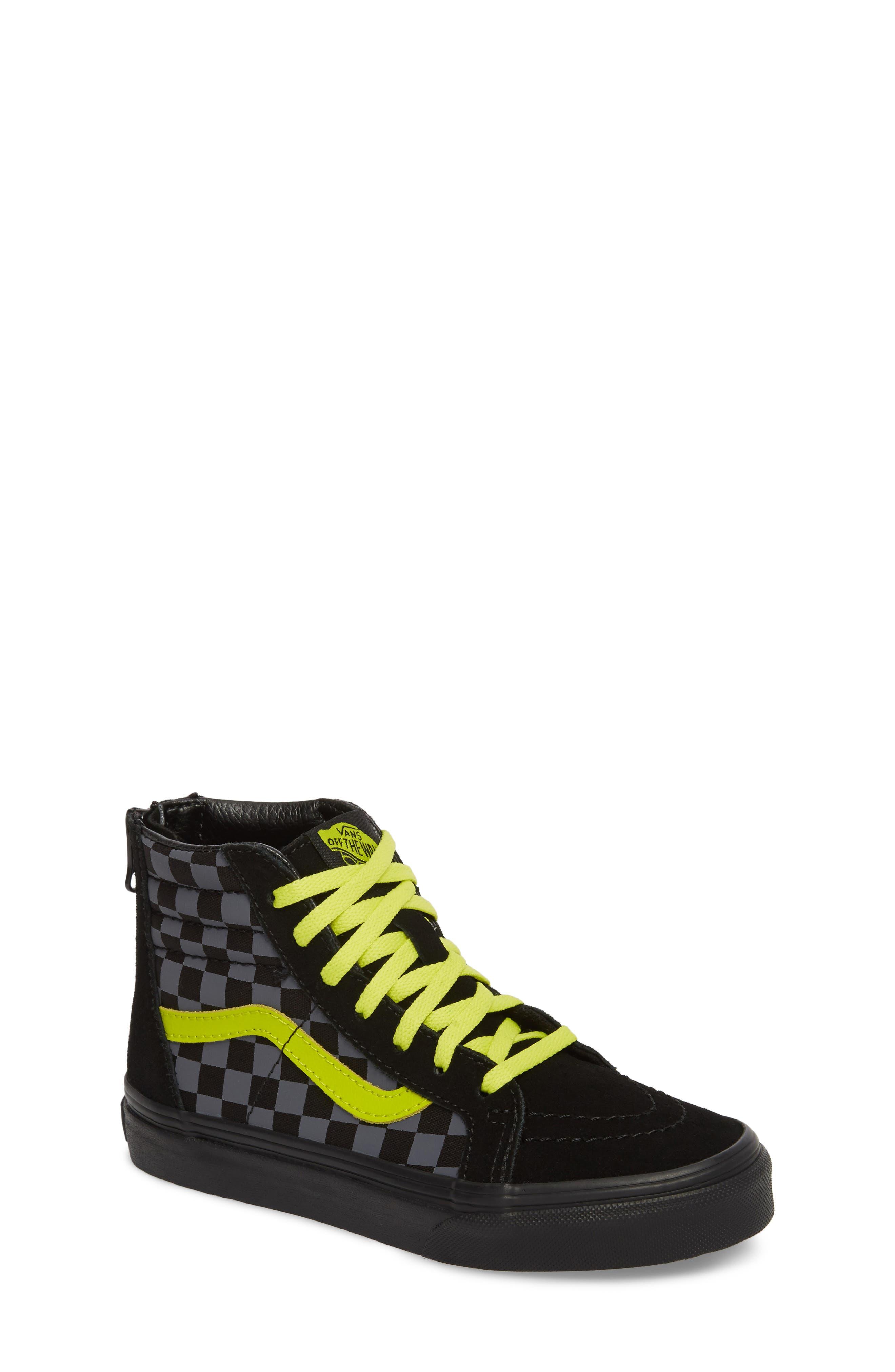 Reflective Checkerboard SK8-Hi Zip Sneaker,                         Main,                         color, 001