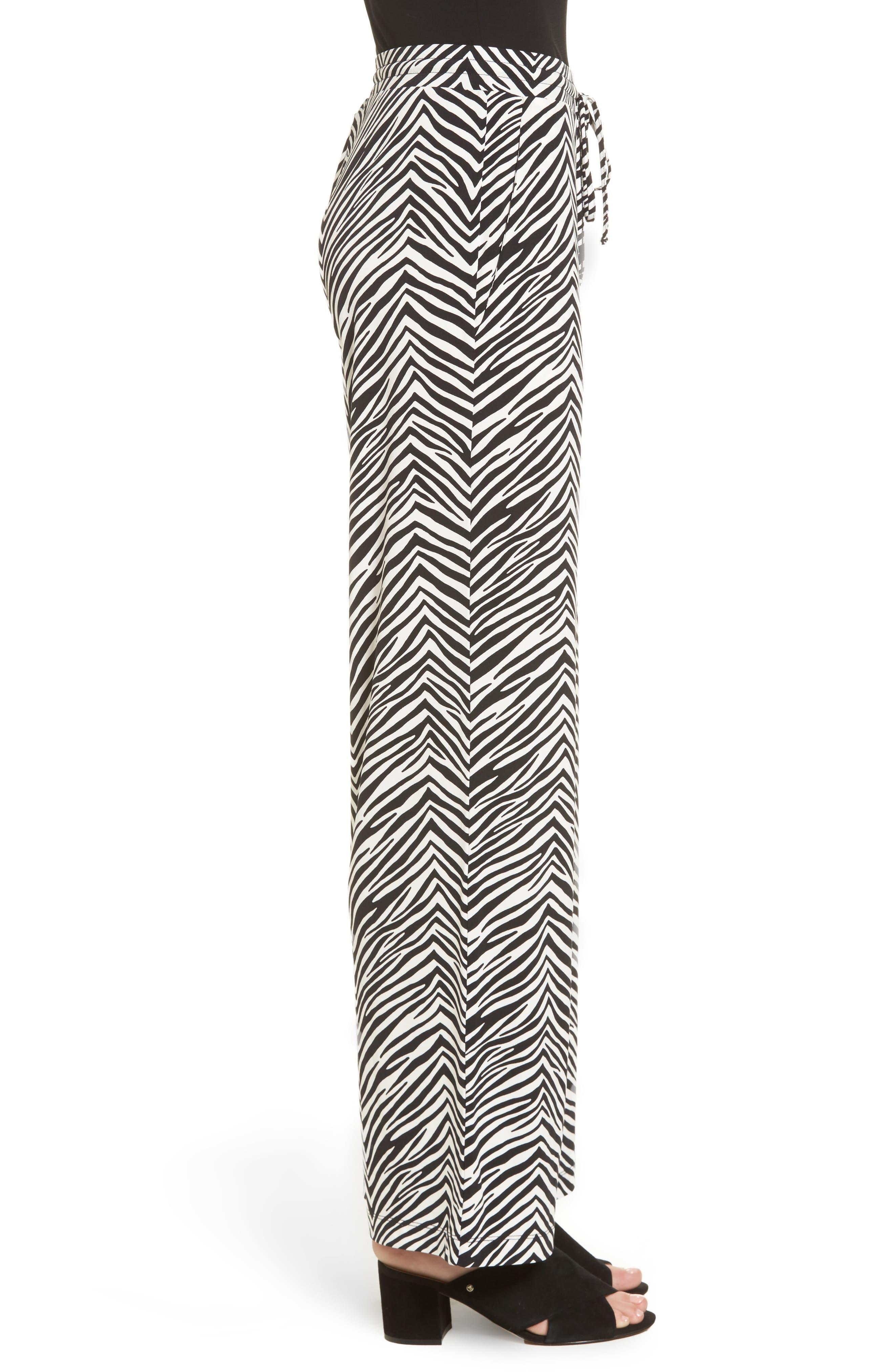 Zebra Print Drawstring Waist Pants,                             Alternate thumbnail 3, color,                             010