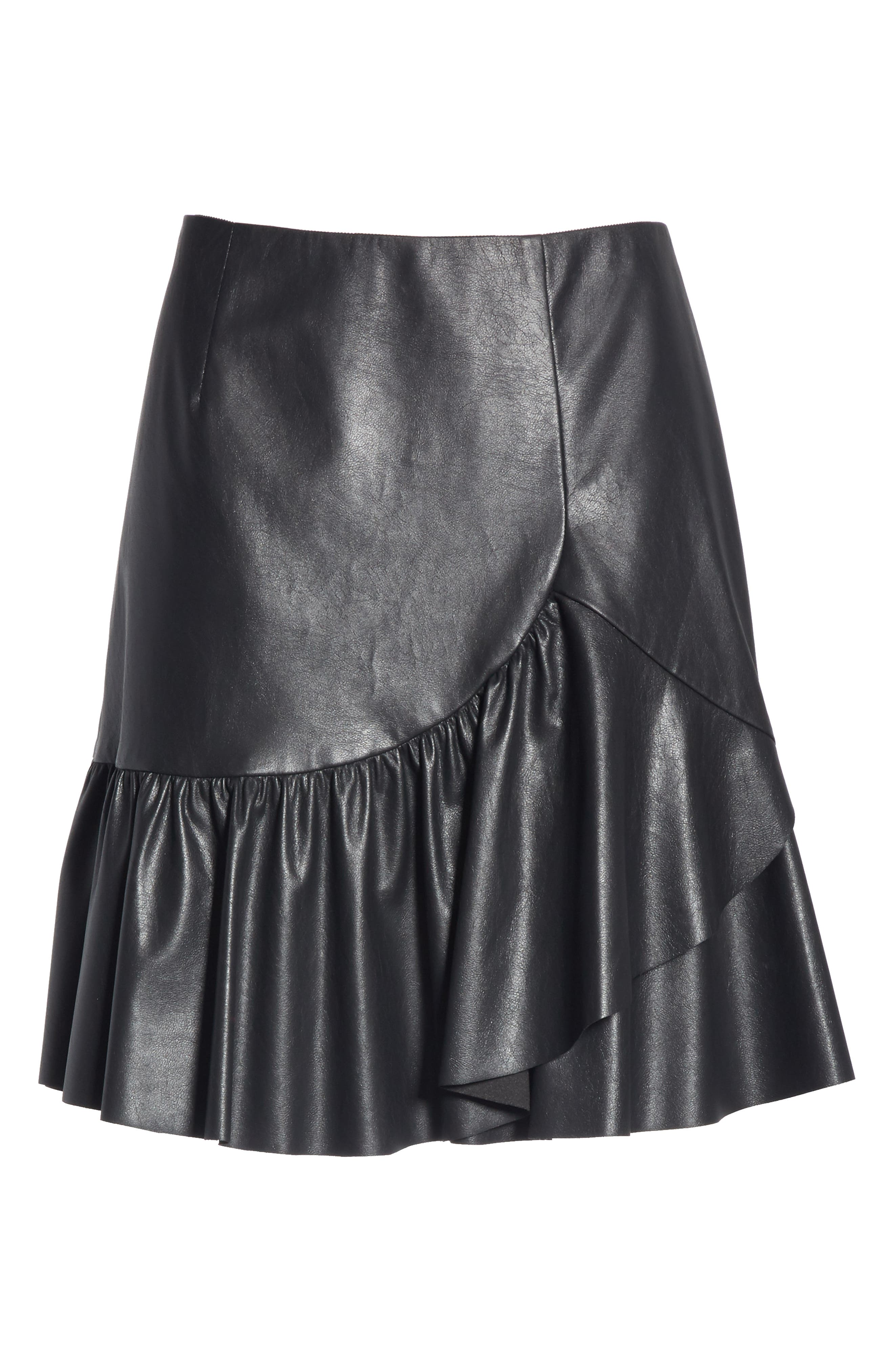 Faux Leather Skirt,                             Alternate thumbnail 6, color,                             001