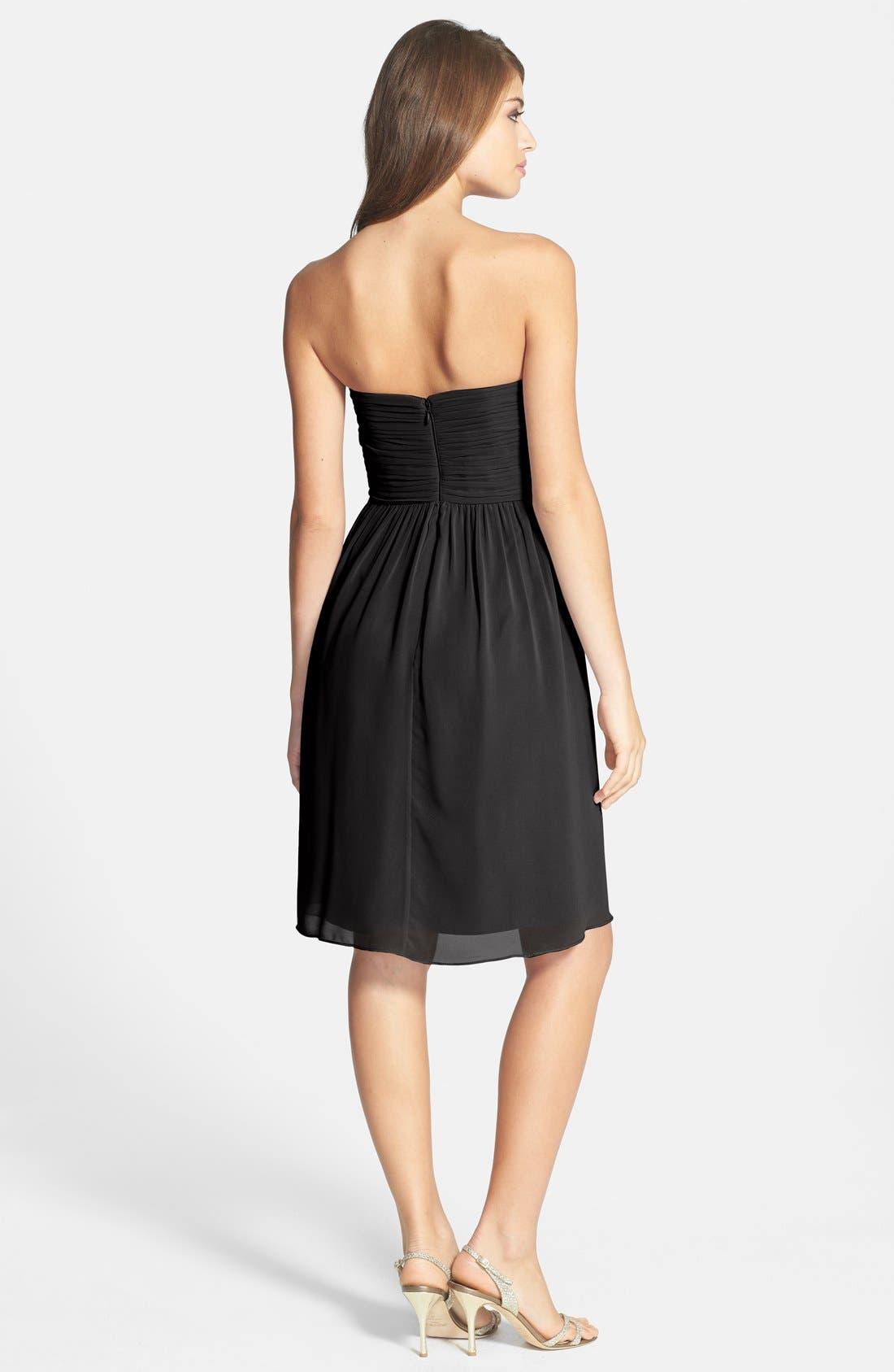 'Sarah' Strapless Ruched Chiffon Dress,                             Alternate thumbnail 3, color,                             001