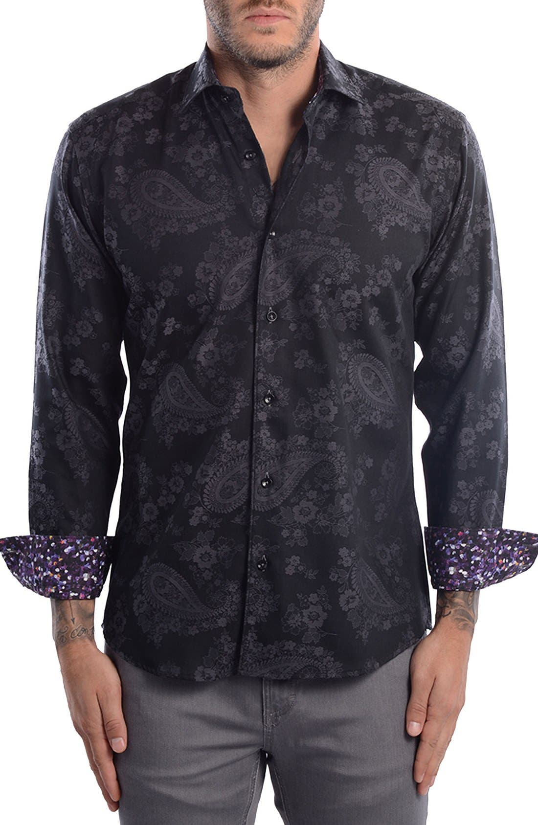 Paisley Modern Fit Sport Shirt,                         Main,                         color,