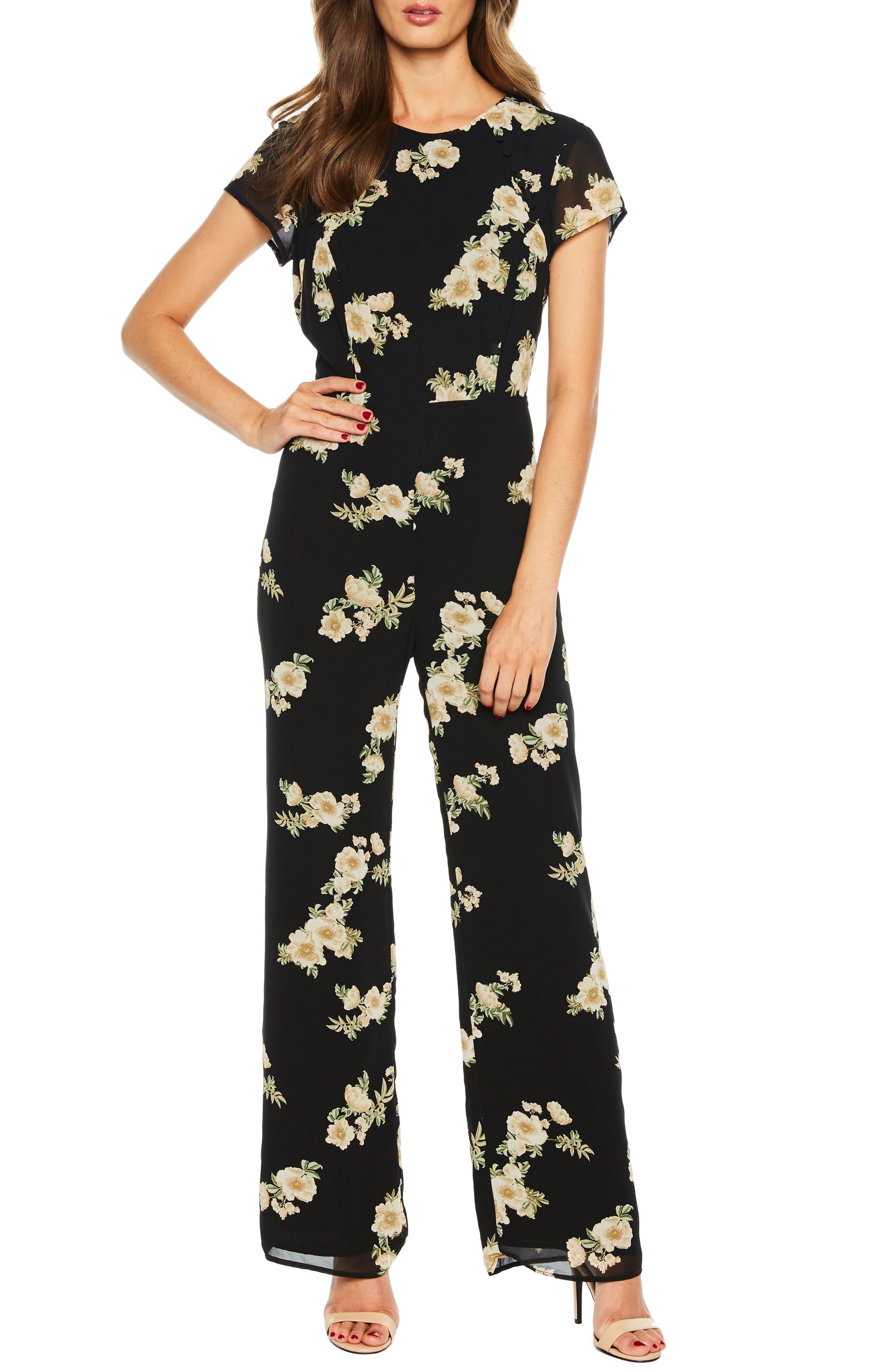 BARDOT,                             Rina Floral Jumpsuit,                             Main thumbnail 1, color,                             006