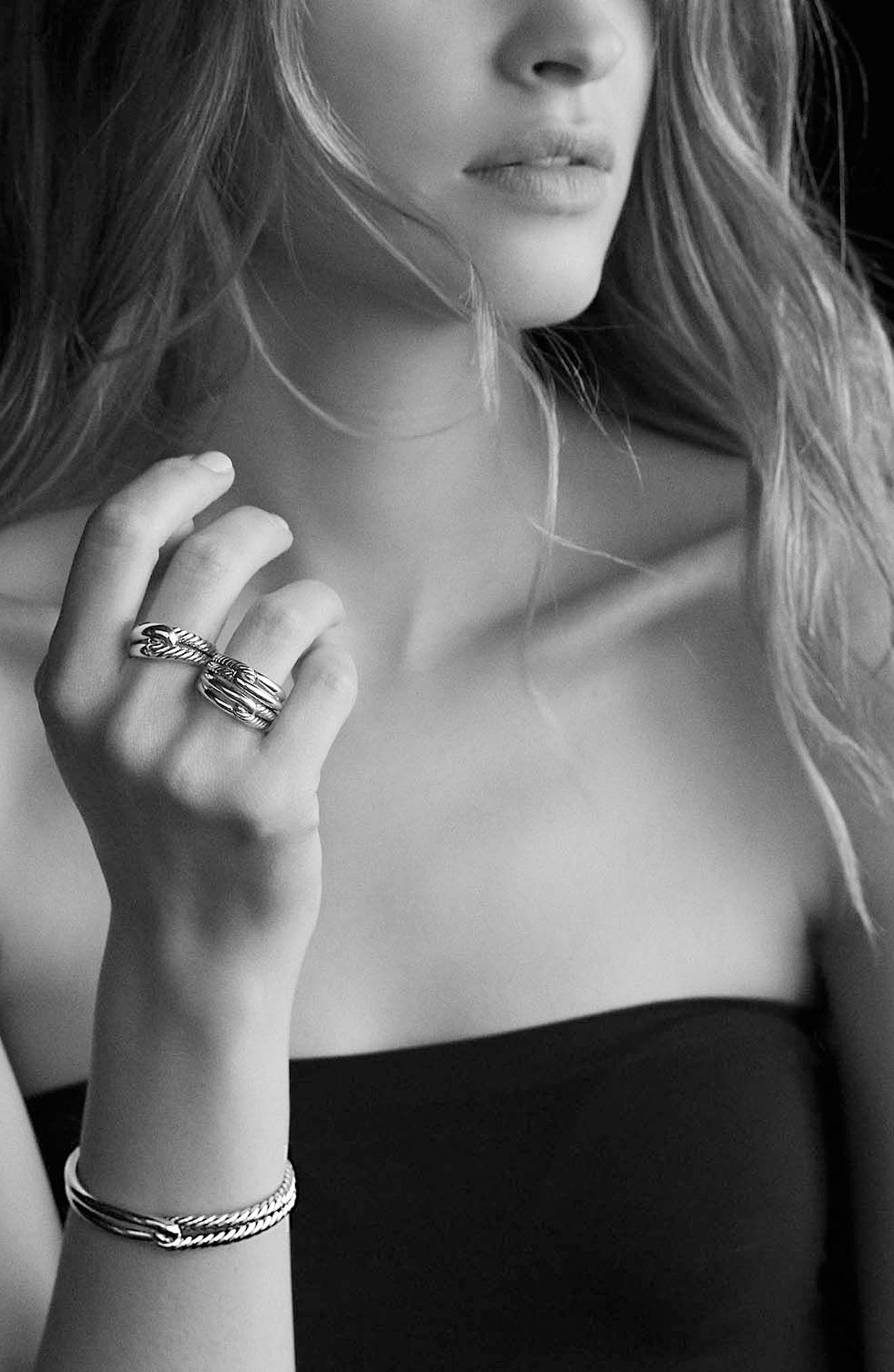 'Labyrinth' Single Loop Ring with Diamonds,                             Alternate thumbnail 4, color,                             DIAMOND