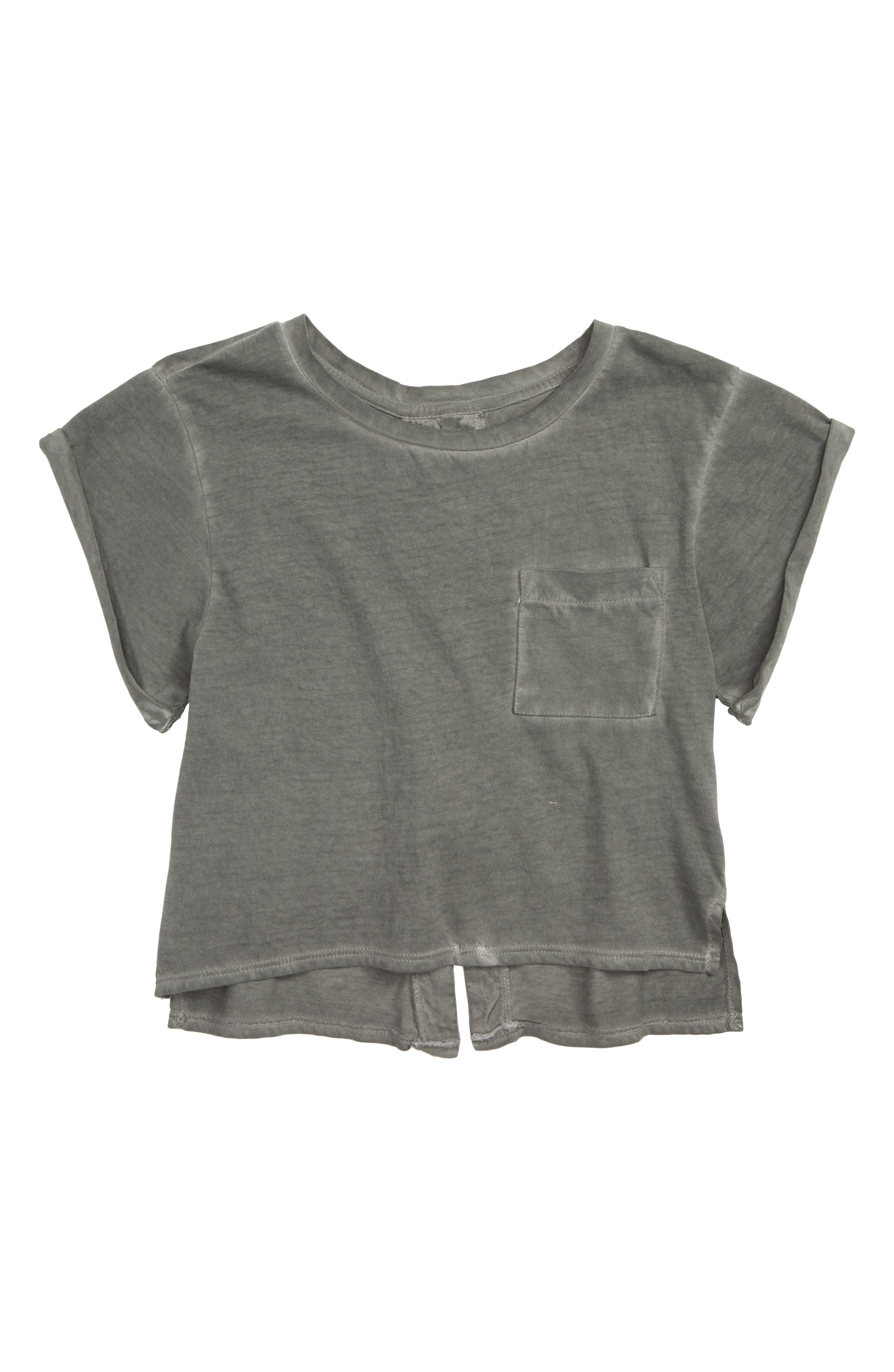 Lace-Up Tee,                         Main,                         color, GREY COBBLE