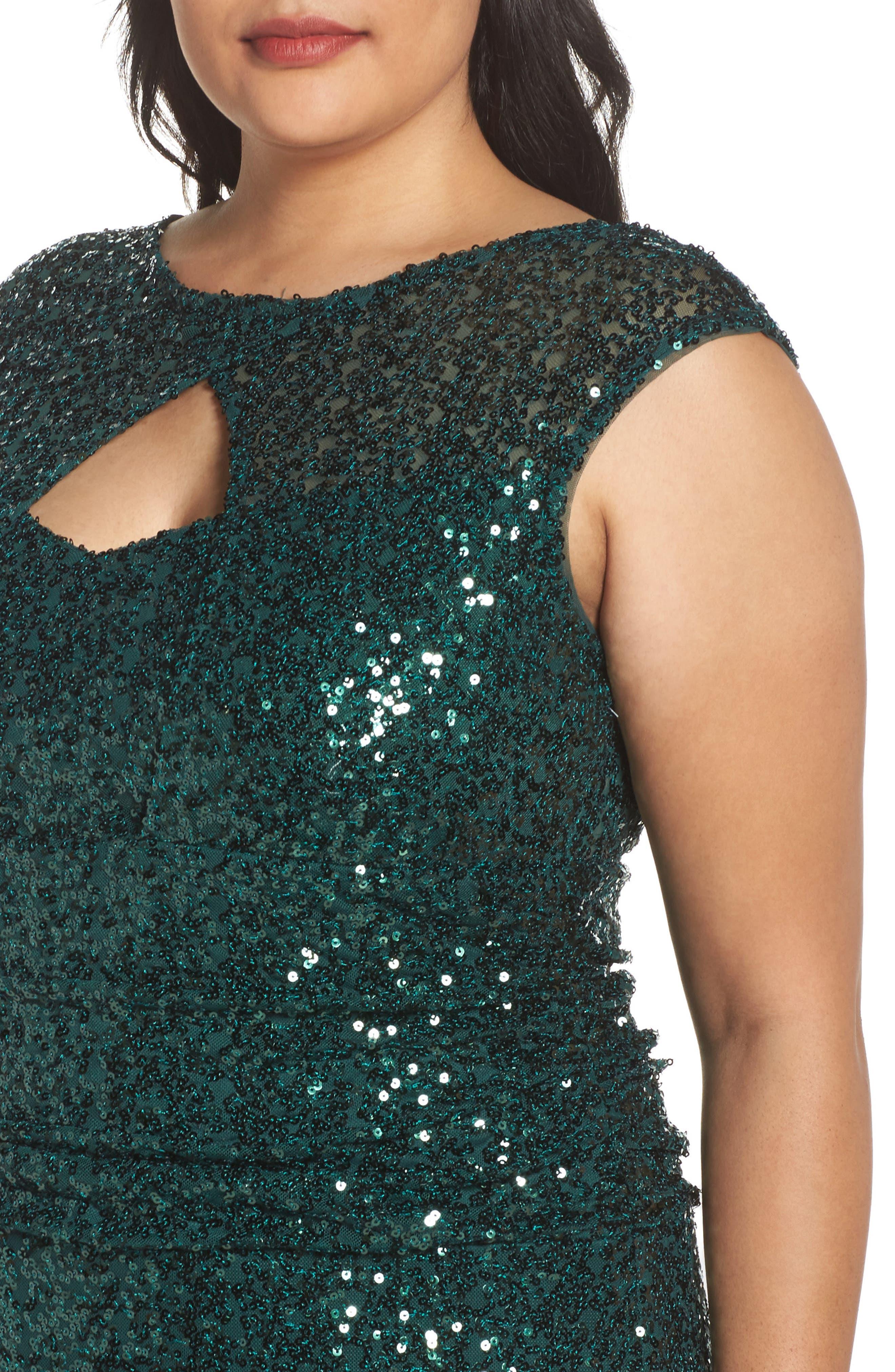 Cutout Sequin Lace Gown,                             Alternate thumbnail 8, color,