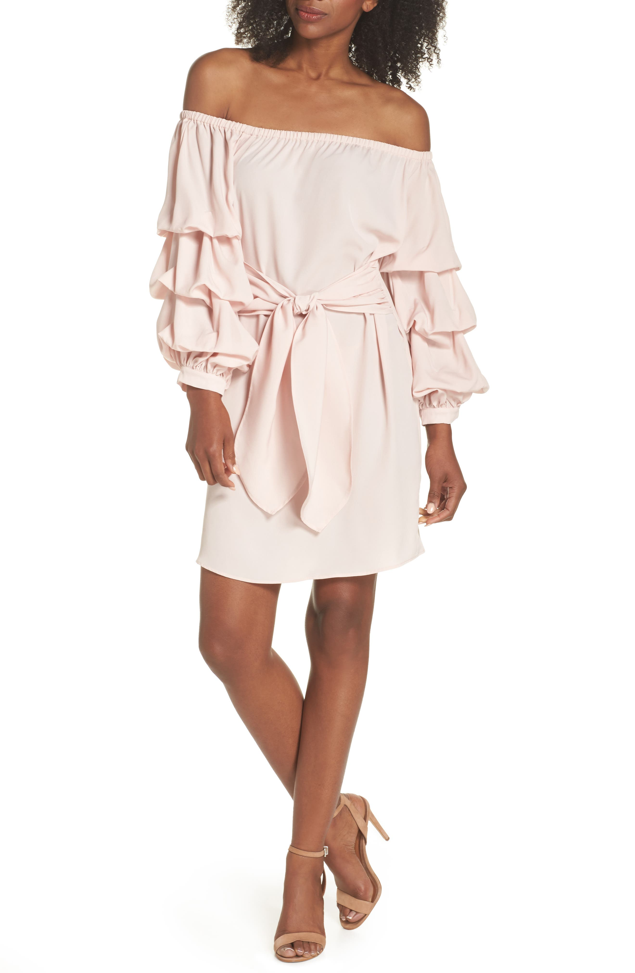 Off the Shoulder Tiered Sleeve Dress,                             Main thumbnail 3, color,