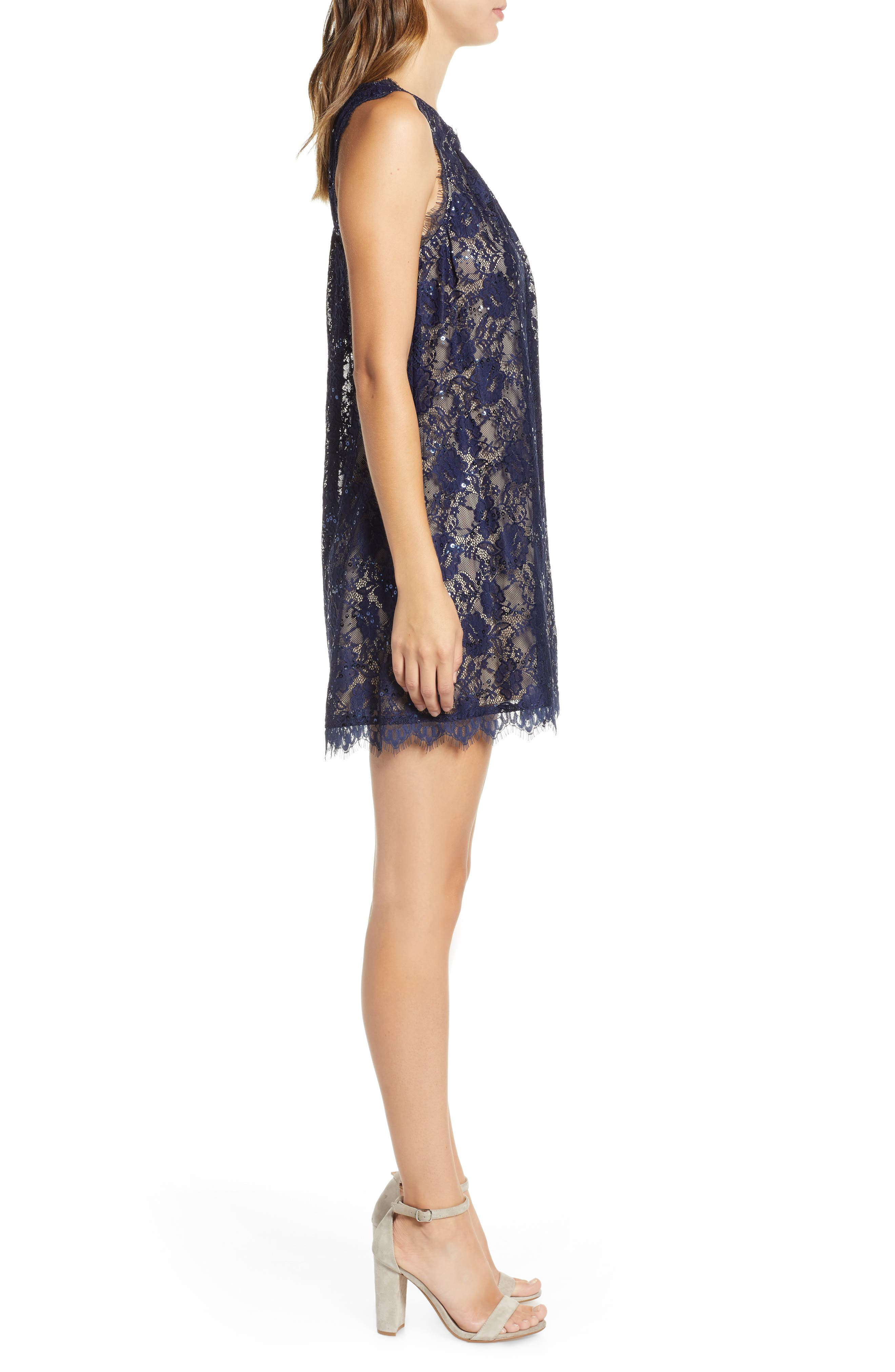 Sequin Lace Shift Dress,                             Alternate thumbnail 3, color,                             NAVY/ TAUPE