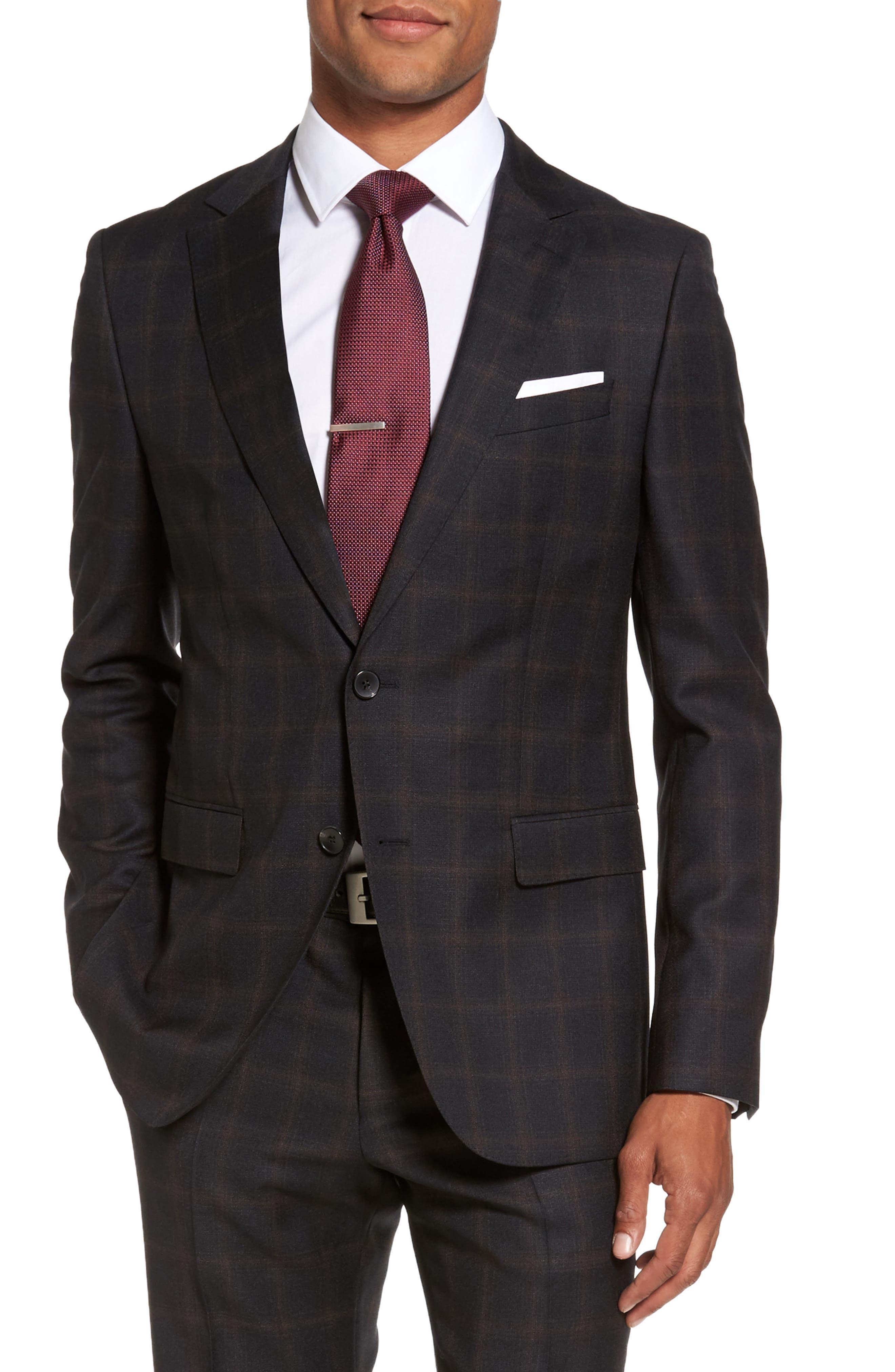 Novan/Ben Trim Fit Plaid Wool Suit,                             Alternate thumbnail 5, color,                             061