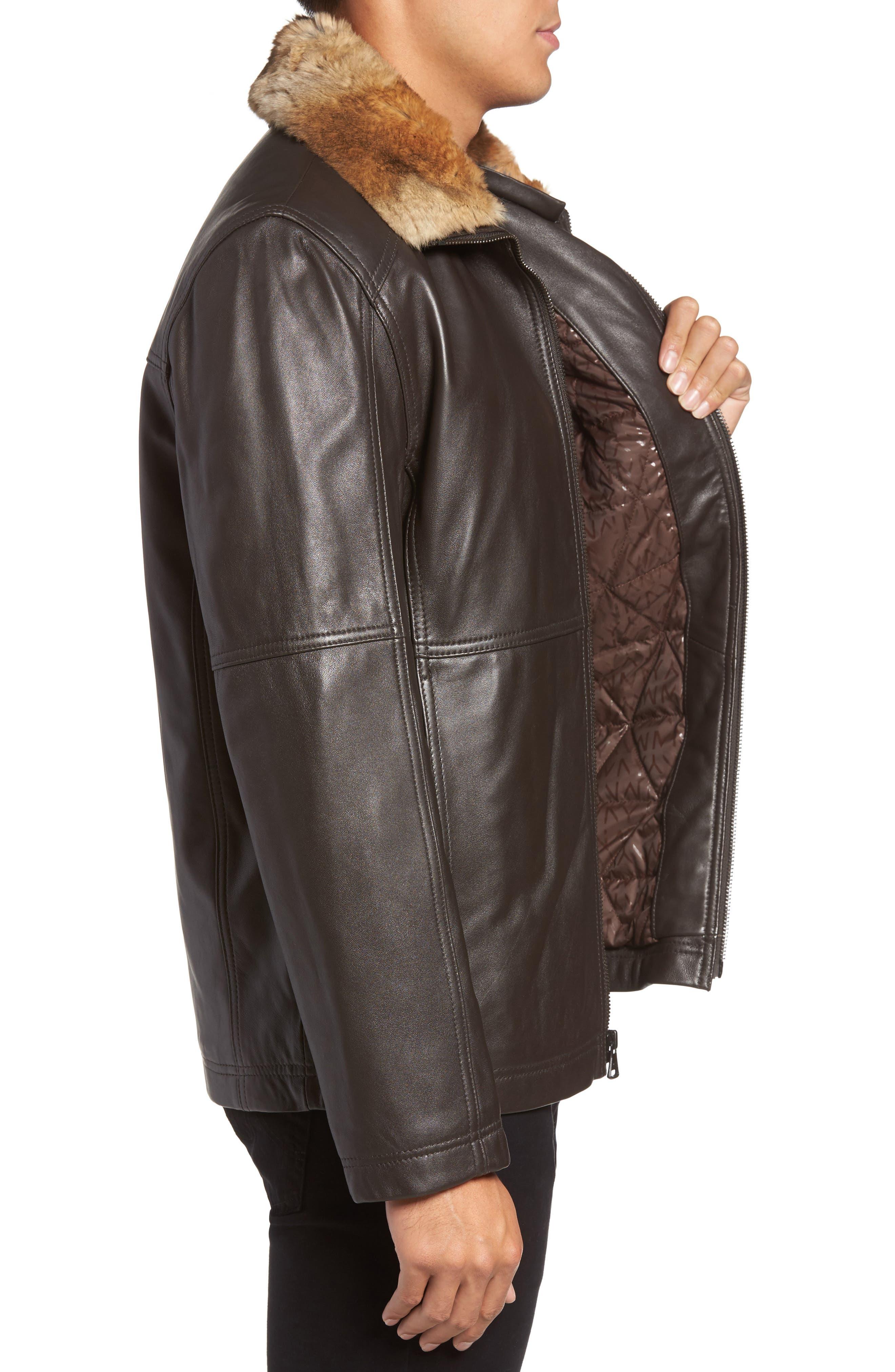 Lambskin Leather Jacket with Genuine Rabbit Fur Trim,                             Alternate thumbnail 6, color,