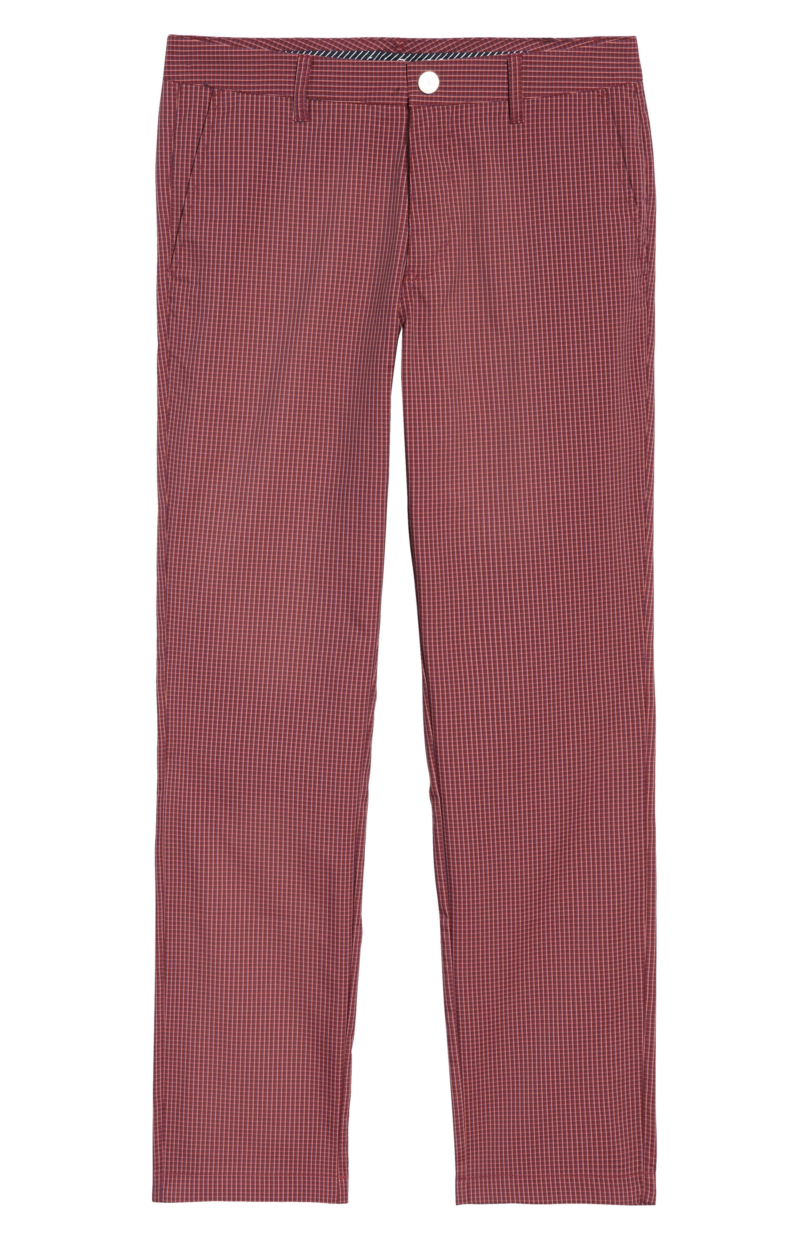 Highland Slim Fit Golf Pants,                             Alternate thumbnail 6, color,                             RED PLAID