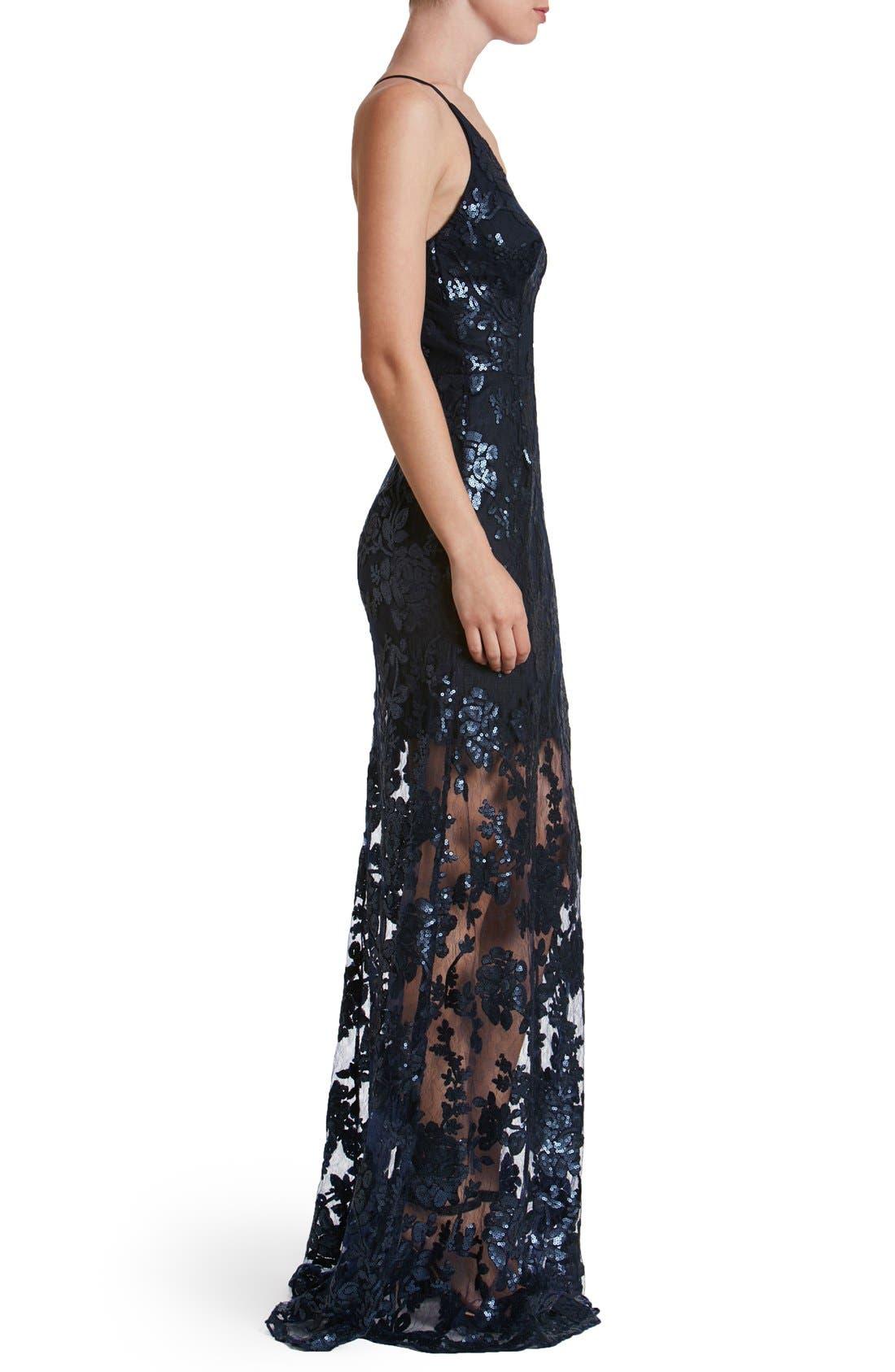 'Vivienne' Sequin Lace Gown,                             Alternate thumbnail 8, color,