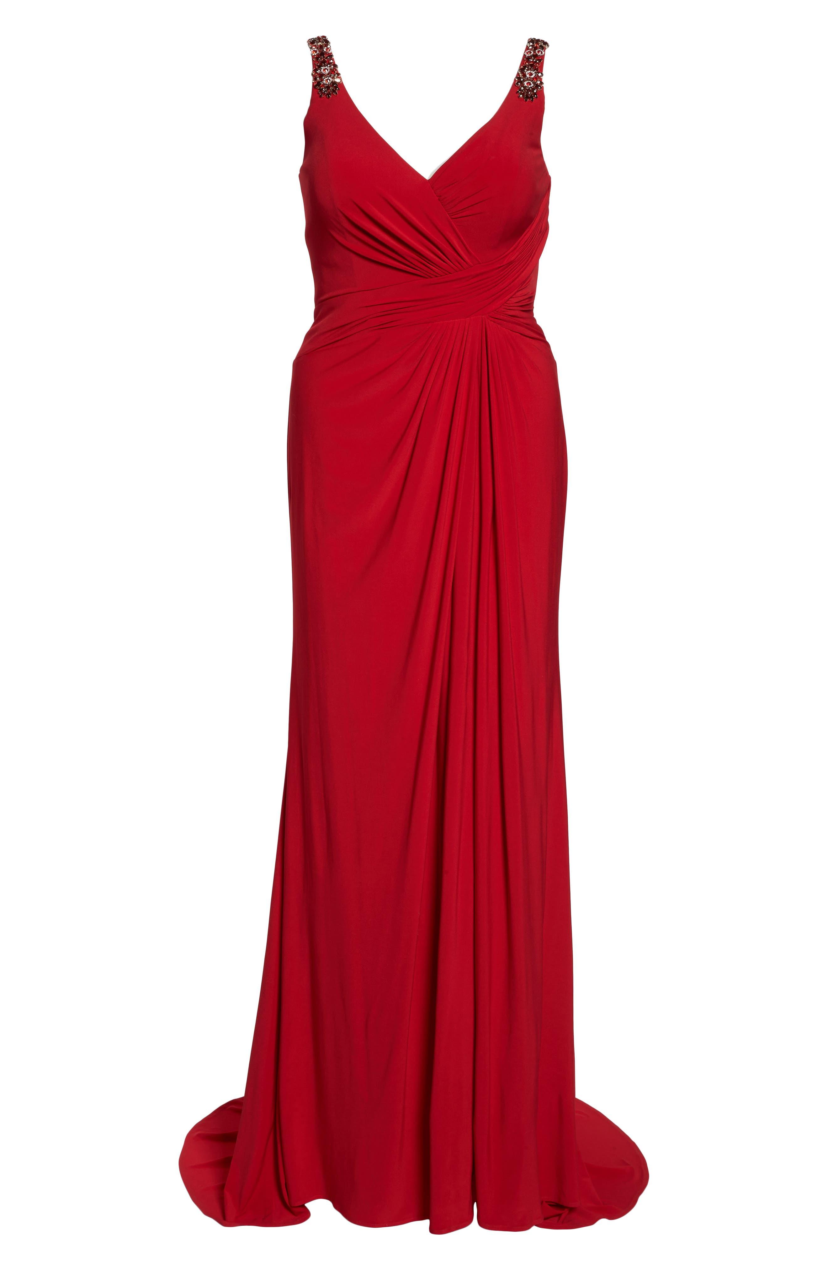Embellished Shoulder Jersey Gown,                             Alternate thumbnail 12, color,