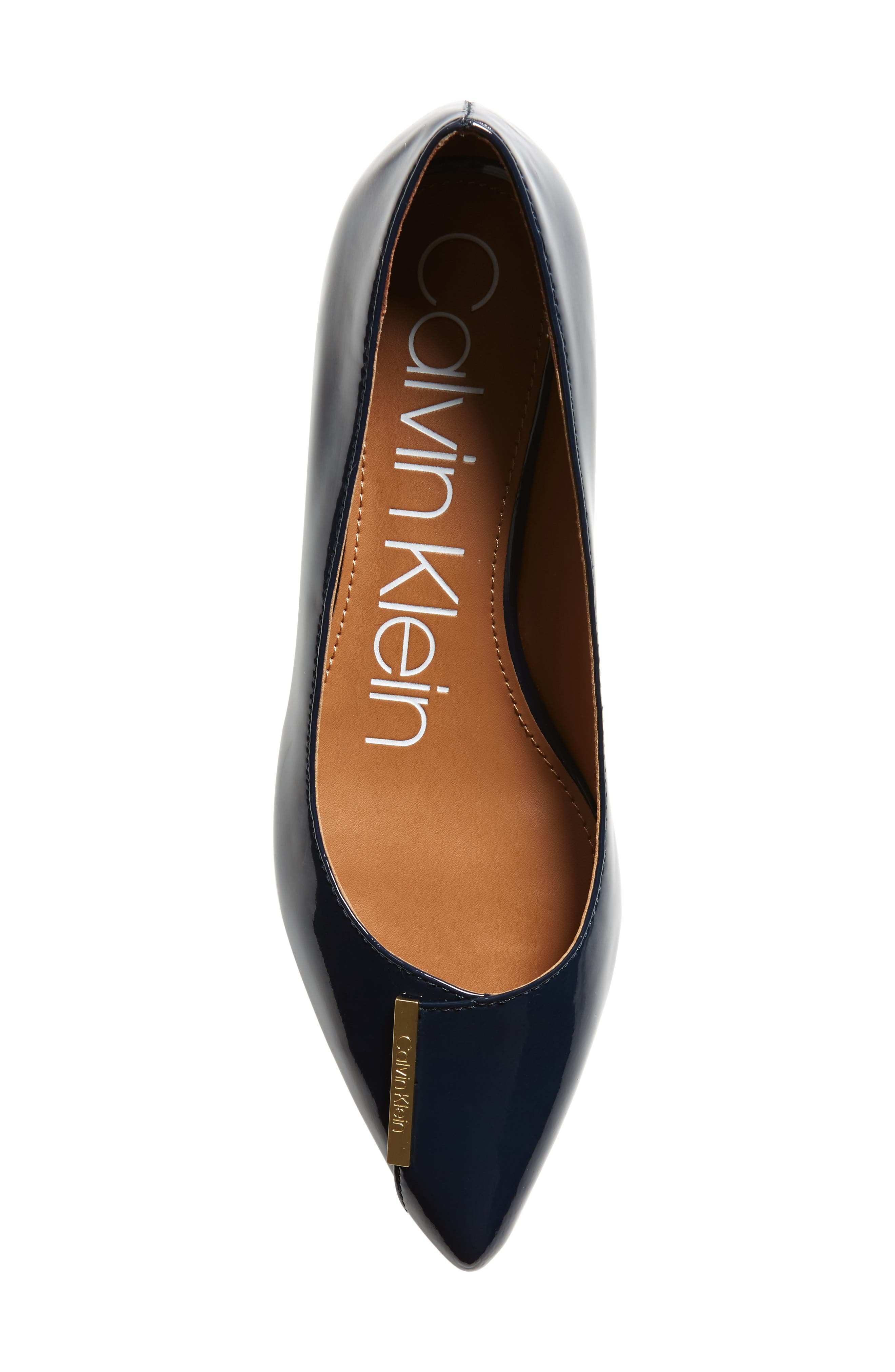 Arline Pointy Toe Flat,                             Alternate thumbnail 5, color,                             NAVY PATENT LEATHER