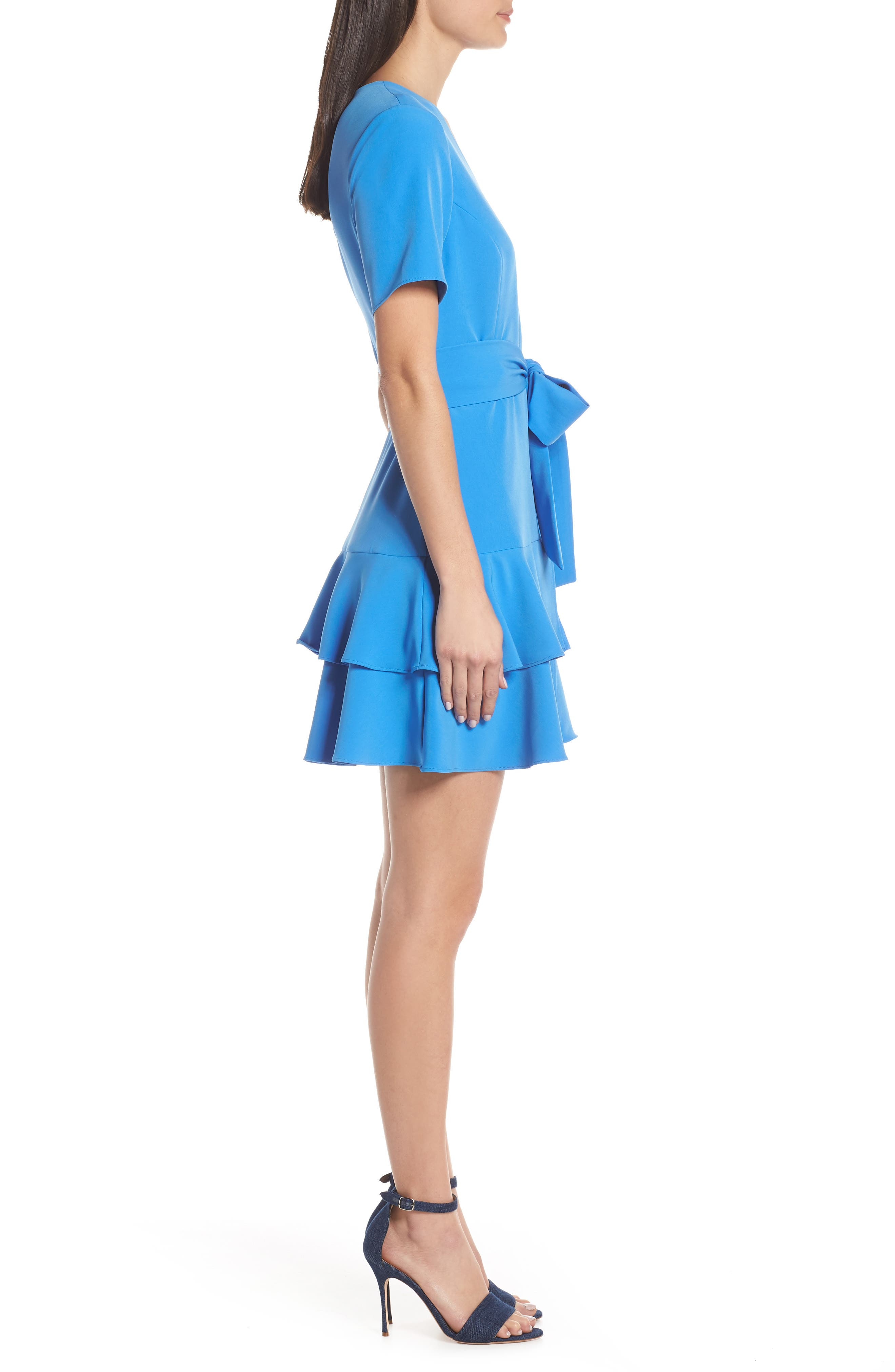 CHARLES HENRY,                             Ruffle Tiered Wrap Dress,                             Alternate thumbnail 3, color,                             DENIM BLUE
