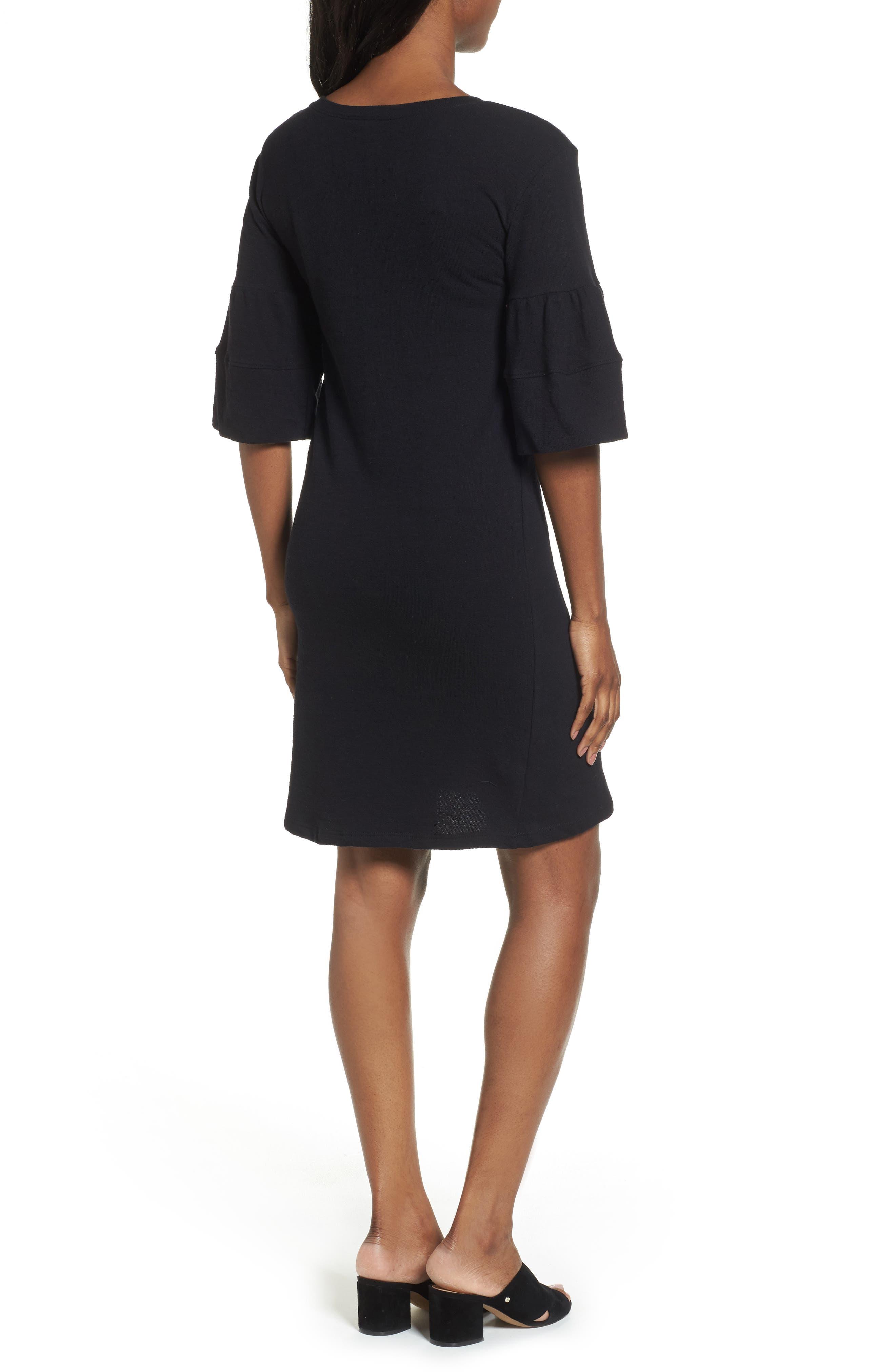 Ruffle Sleeve Knit Dress,                             Alternate thumbnail 4, color,