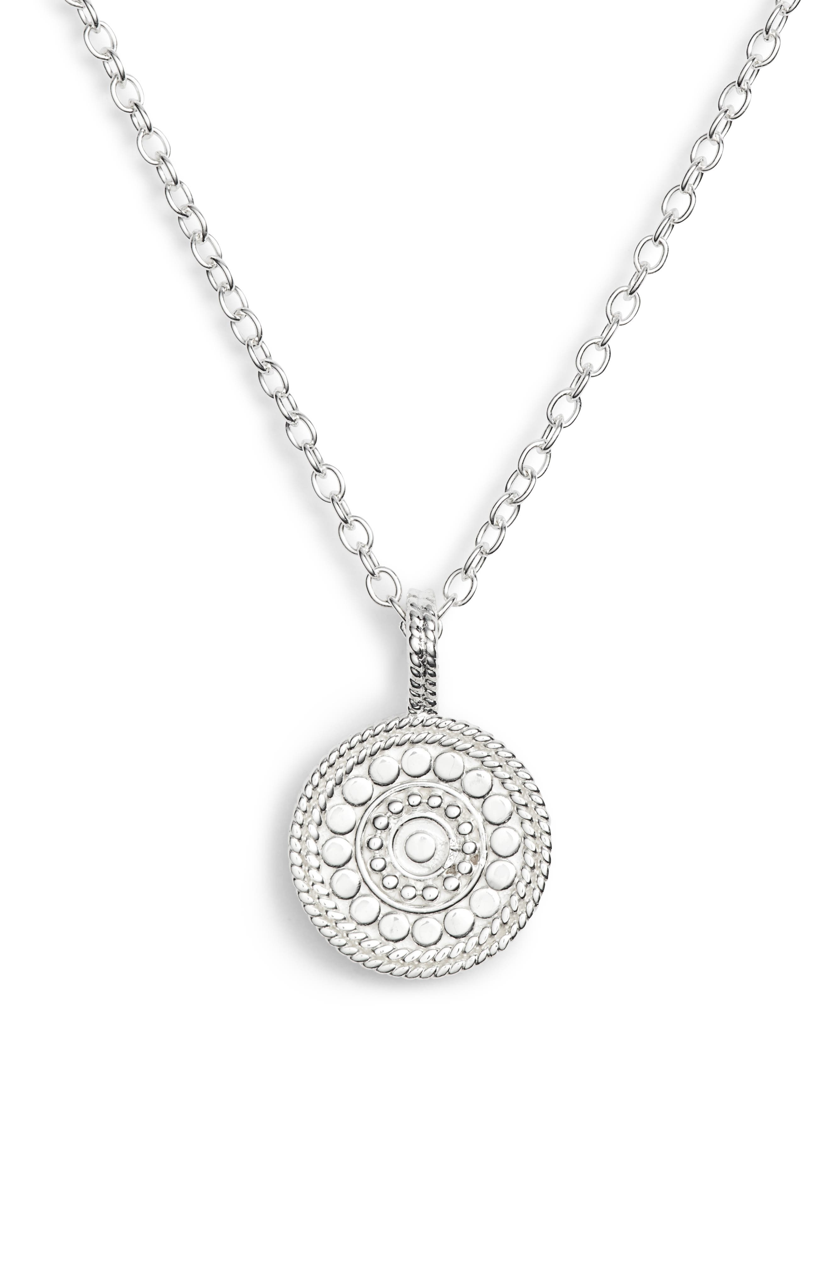 ANNA BECK Beaded Reversible Circle Pendant Necklace in Silver