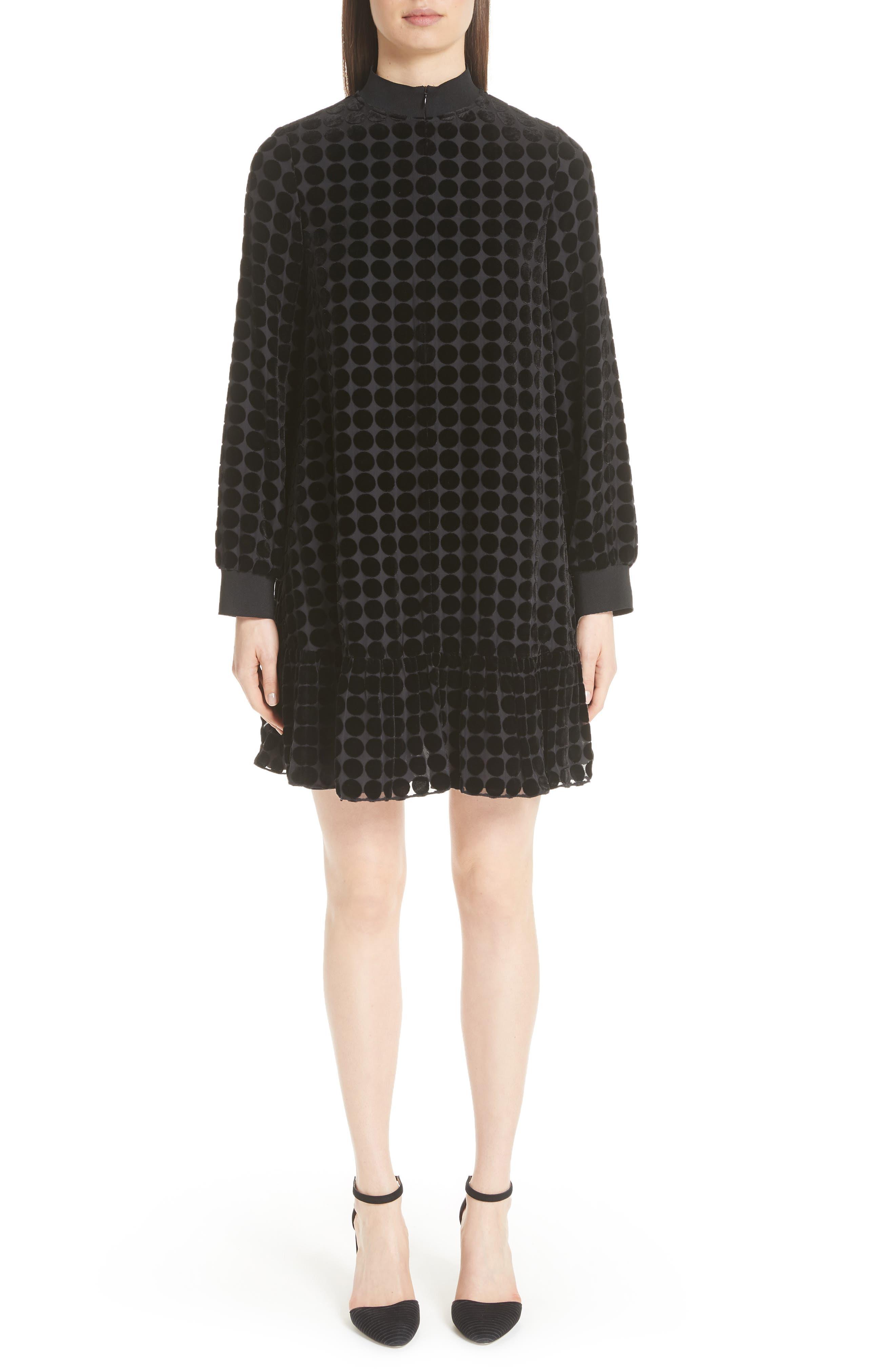Zip-Collar Long-Sleeve Dotted Velvet Burnout Trapeze Dress in Black