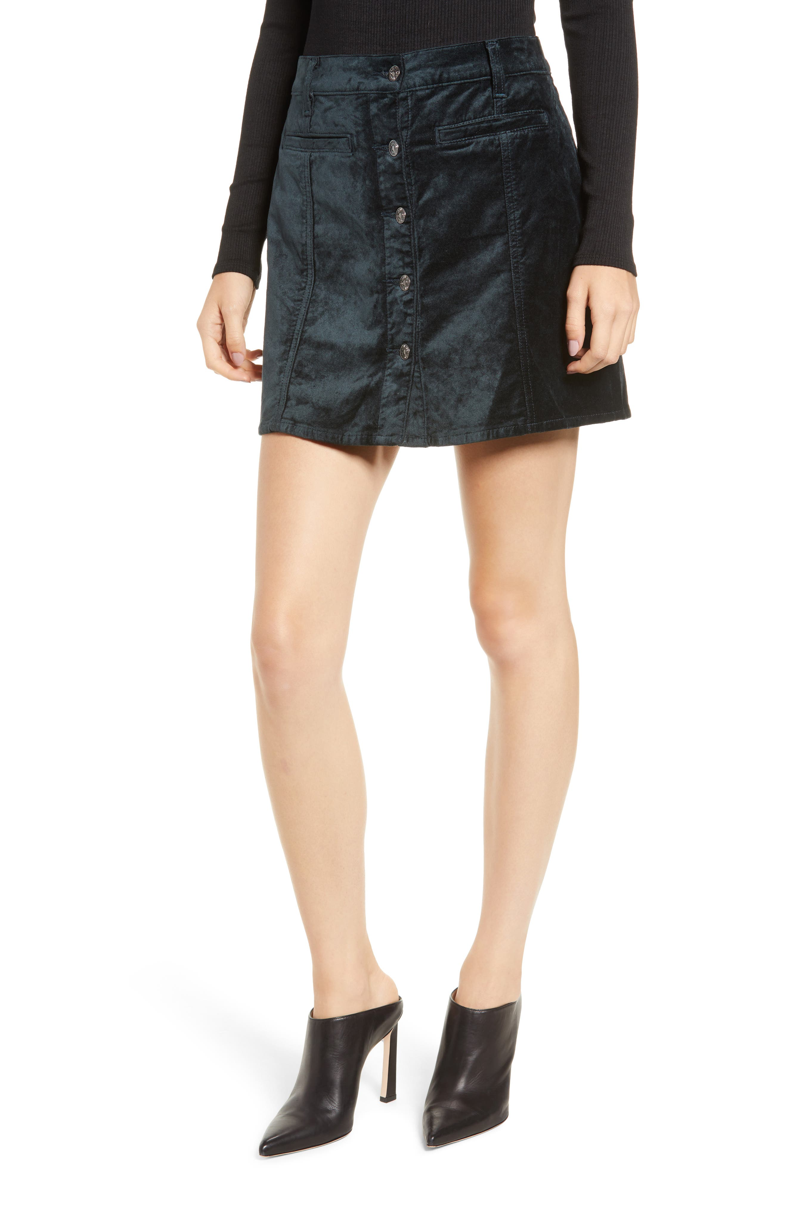Button Front Velvet Miniskirt,                             Main thumbnail 1, color,                             301