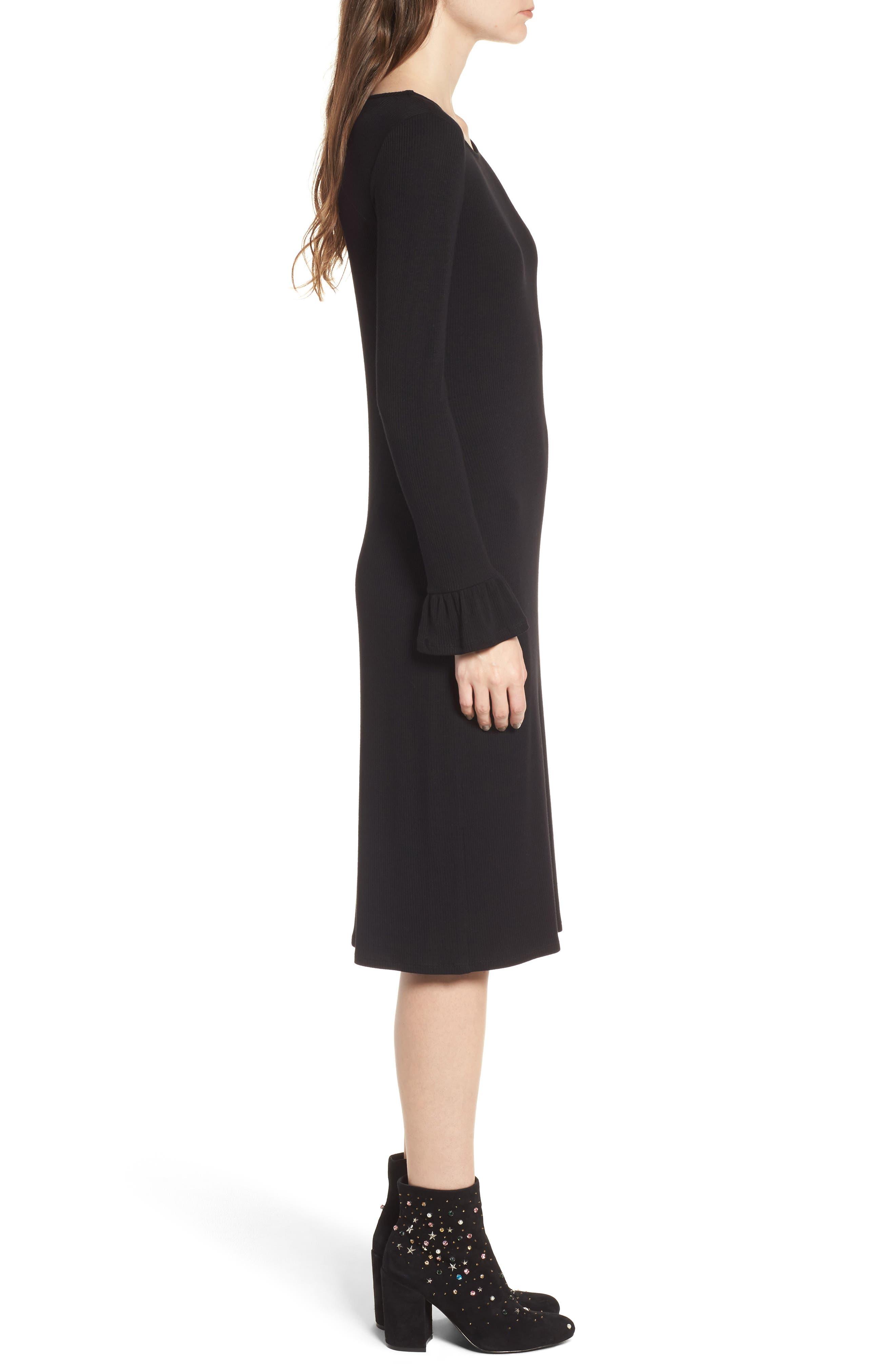 Ruffle Sleeve Ribbed Midi Dress,                             Alternate thumbnail 5, color,