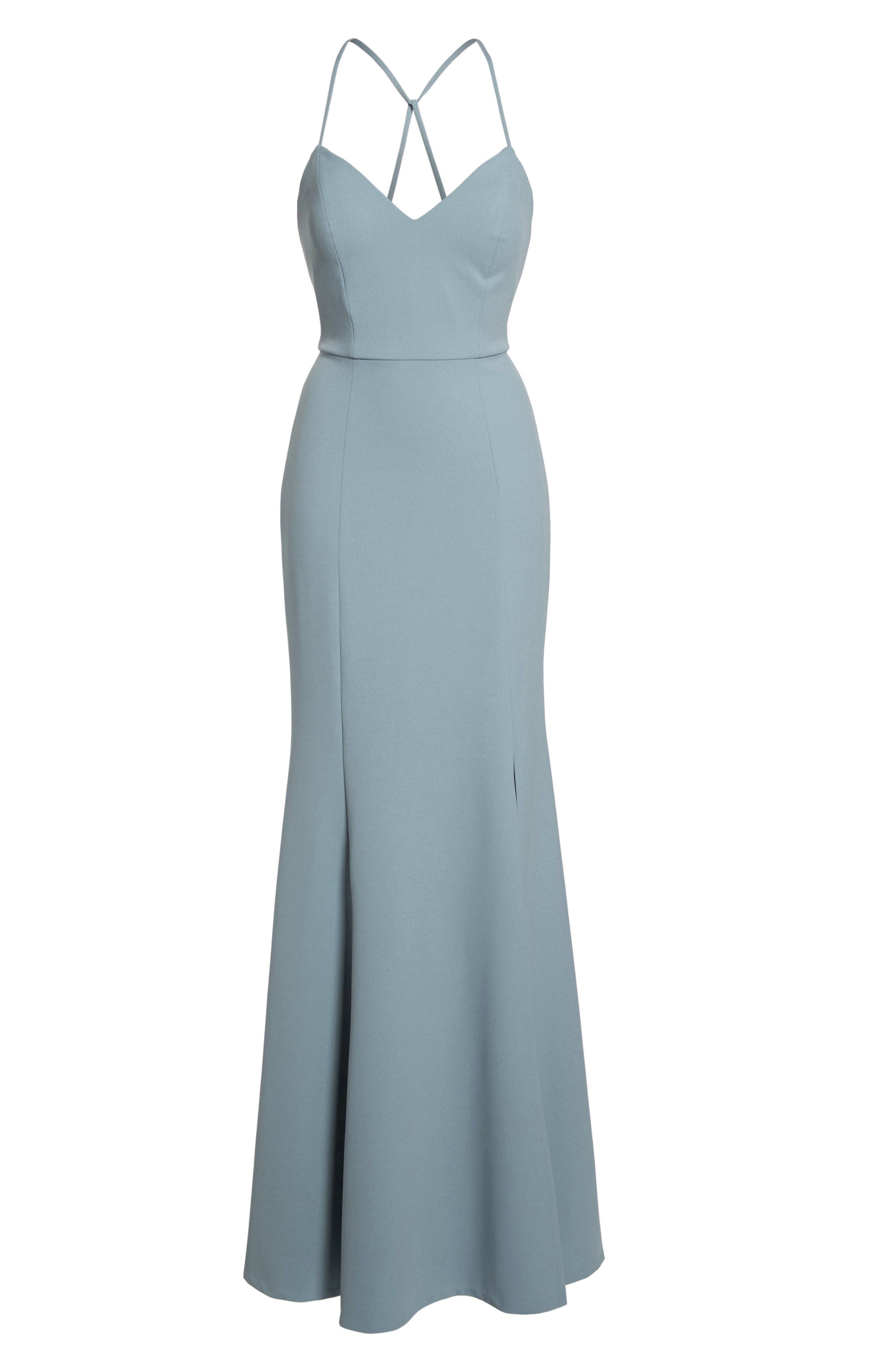 Reese Crepe Knit Gown,                             Alternate thumbnail 9, color,                             MAYAN BLUE