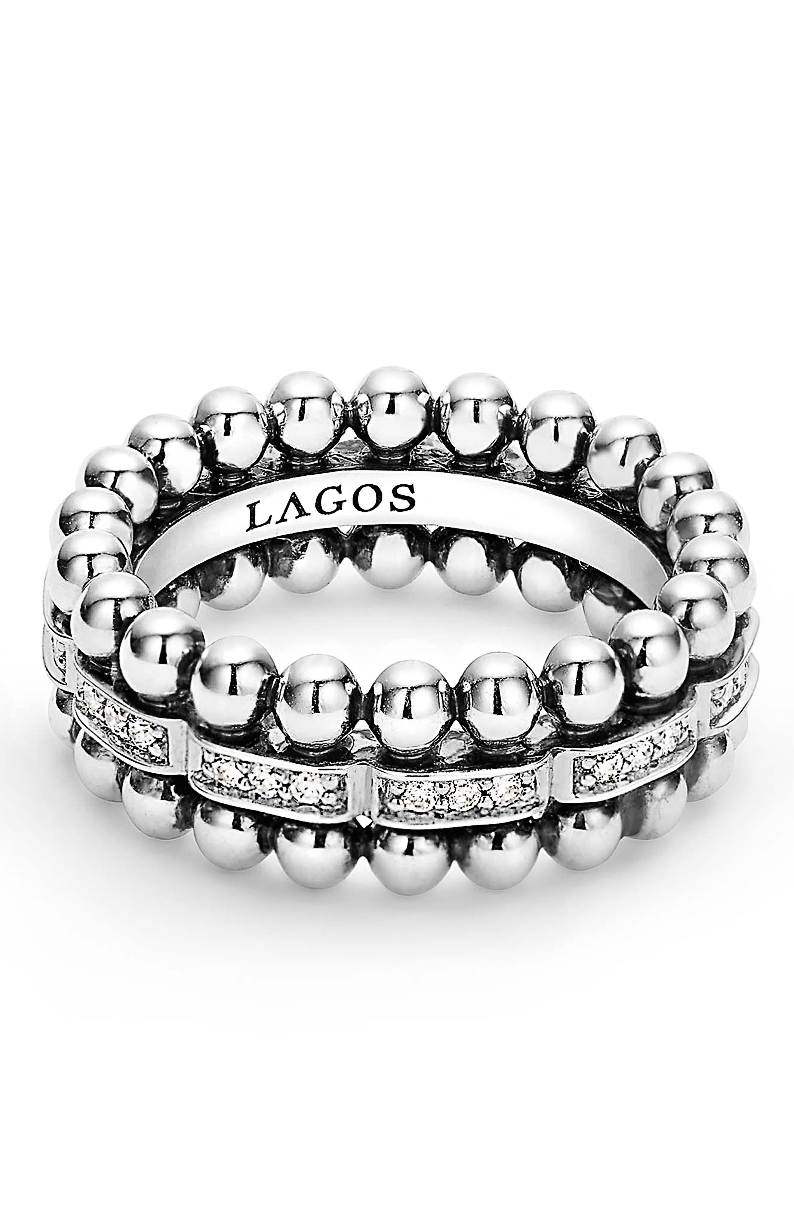 Caviar Spark Diamond Band Ring,                             Alternate thumbnail 3, color,                             SILVER/ DIAMOND