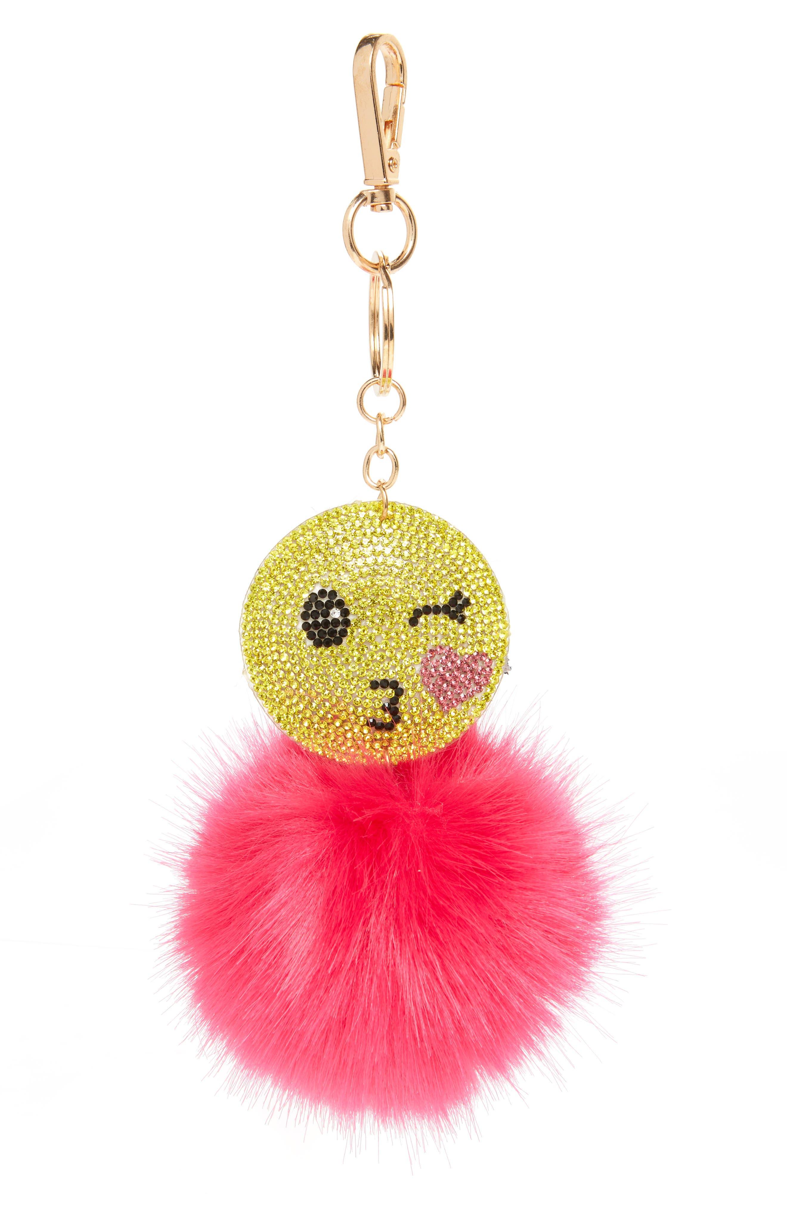 Wink Emoji Pom Faux Fur Bag Charm,                             Main thumbnail 1, color,