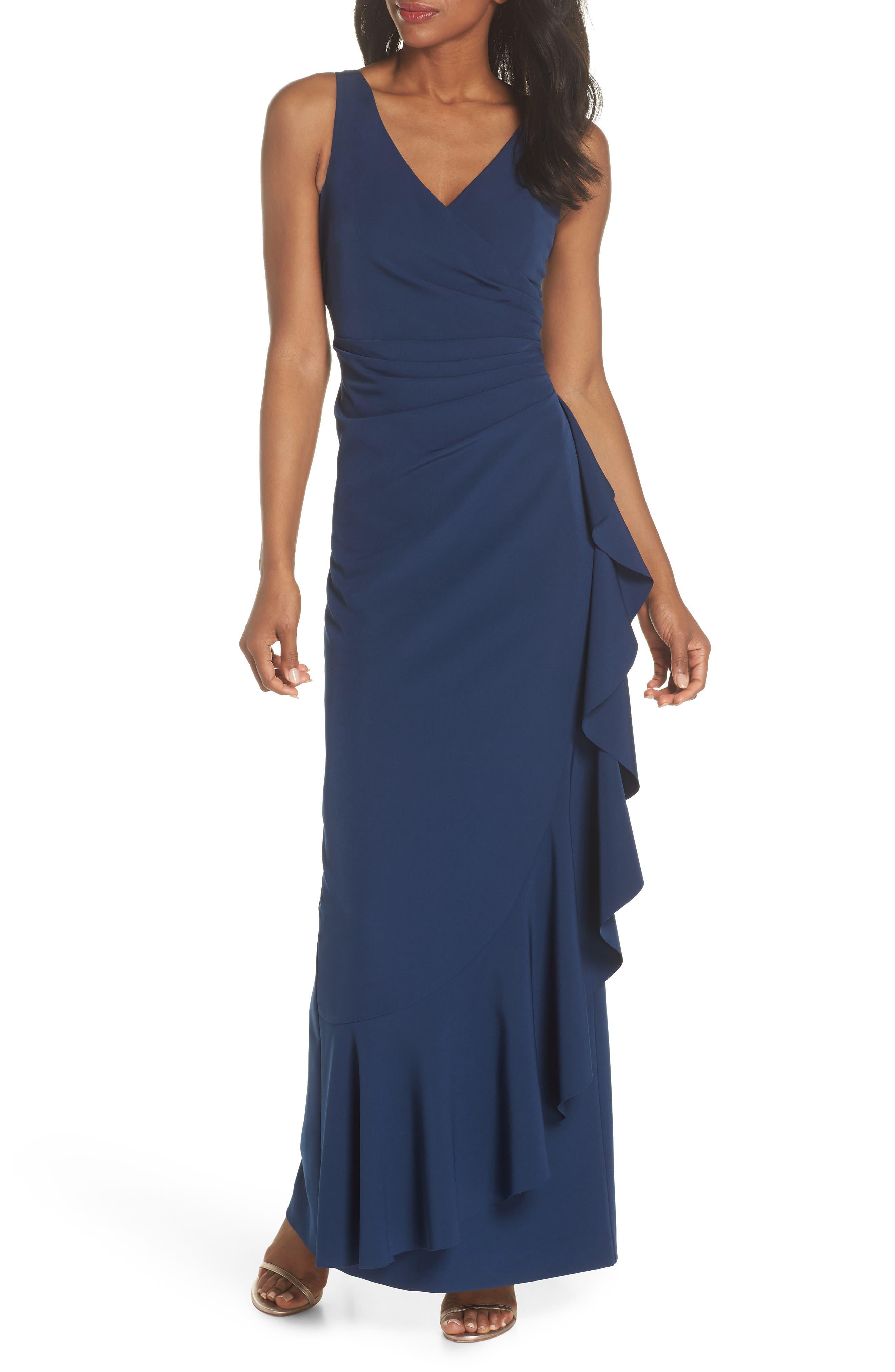 Laguna Faux Wrap Gown,                         Main,                         color, BLUE