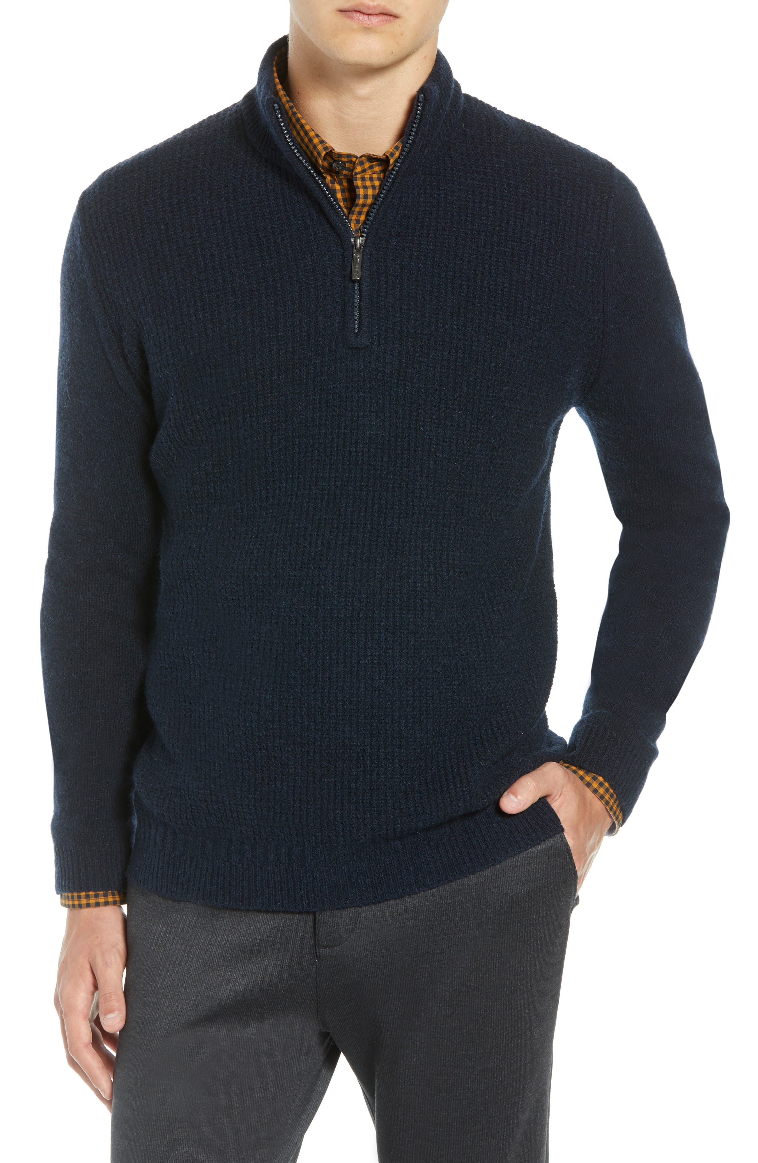 BEN SHERMAN Regular Fit Quarter Zip Sweater in Navy