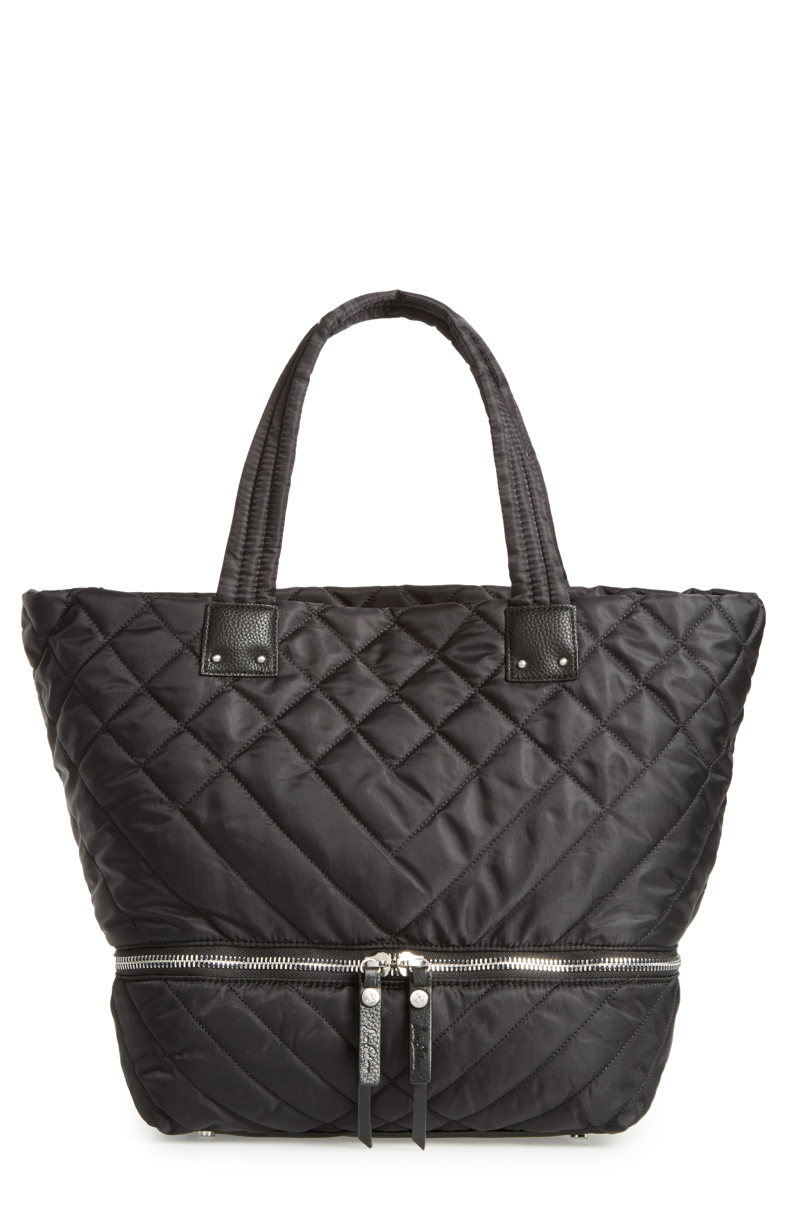 Arianna Quilted Nylon Tote,                         Main,                         color, 001