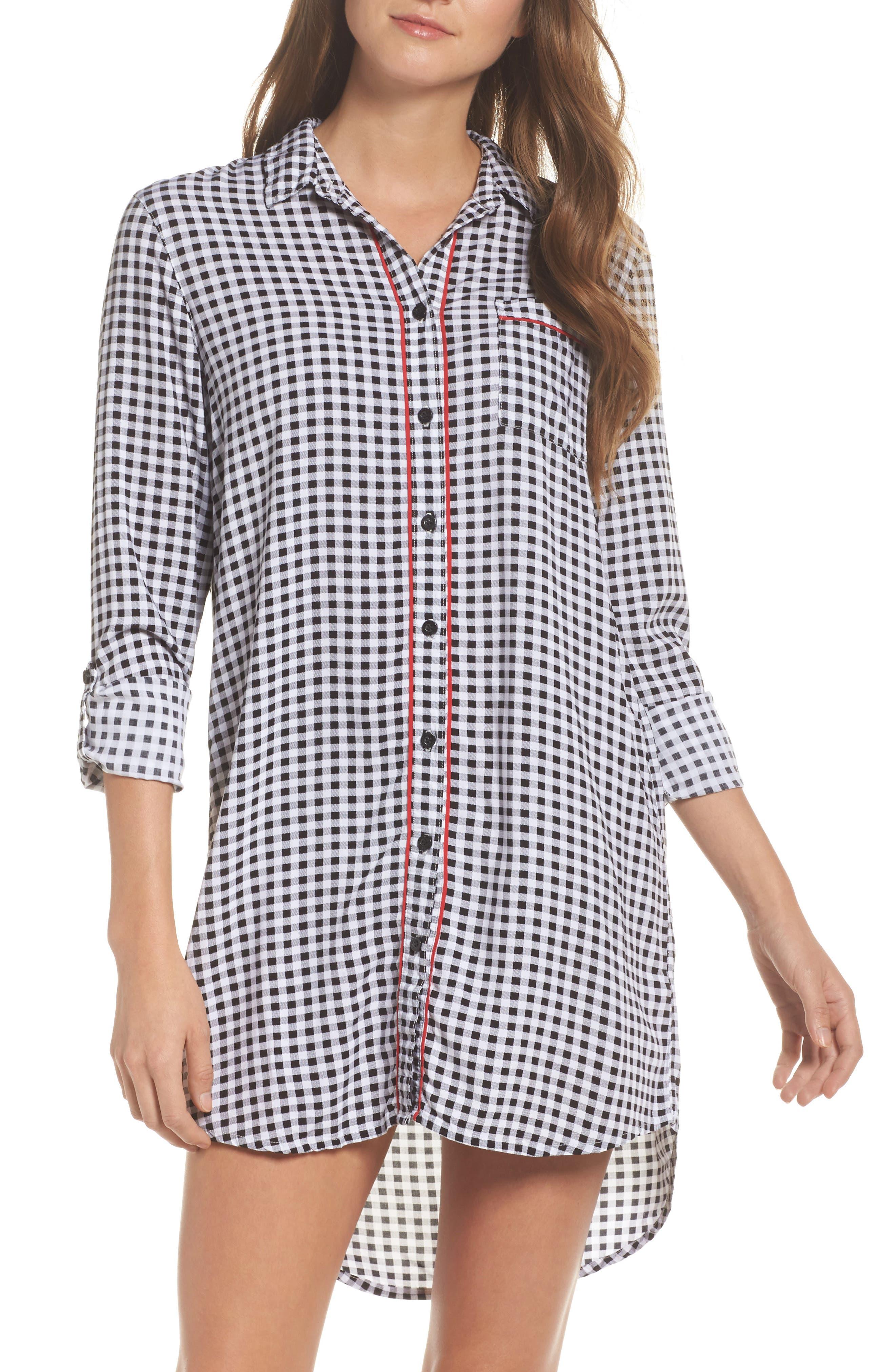 Gingham Sleep Shirt,                         Main,                         color, 001