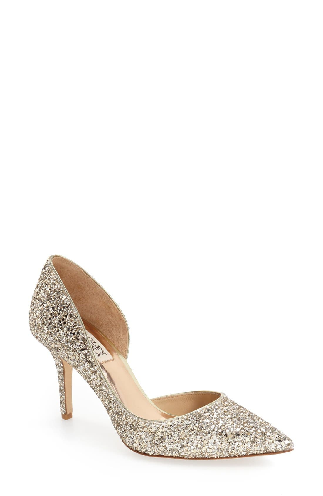 'Daisy' Embellished Pointy Toe Pump,                             Main thumbnail 1, color,                             PLATINO GLITTER FABRIC