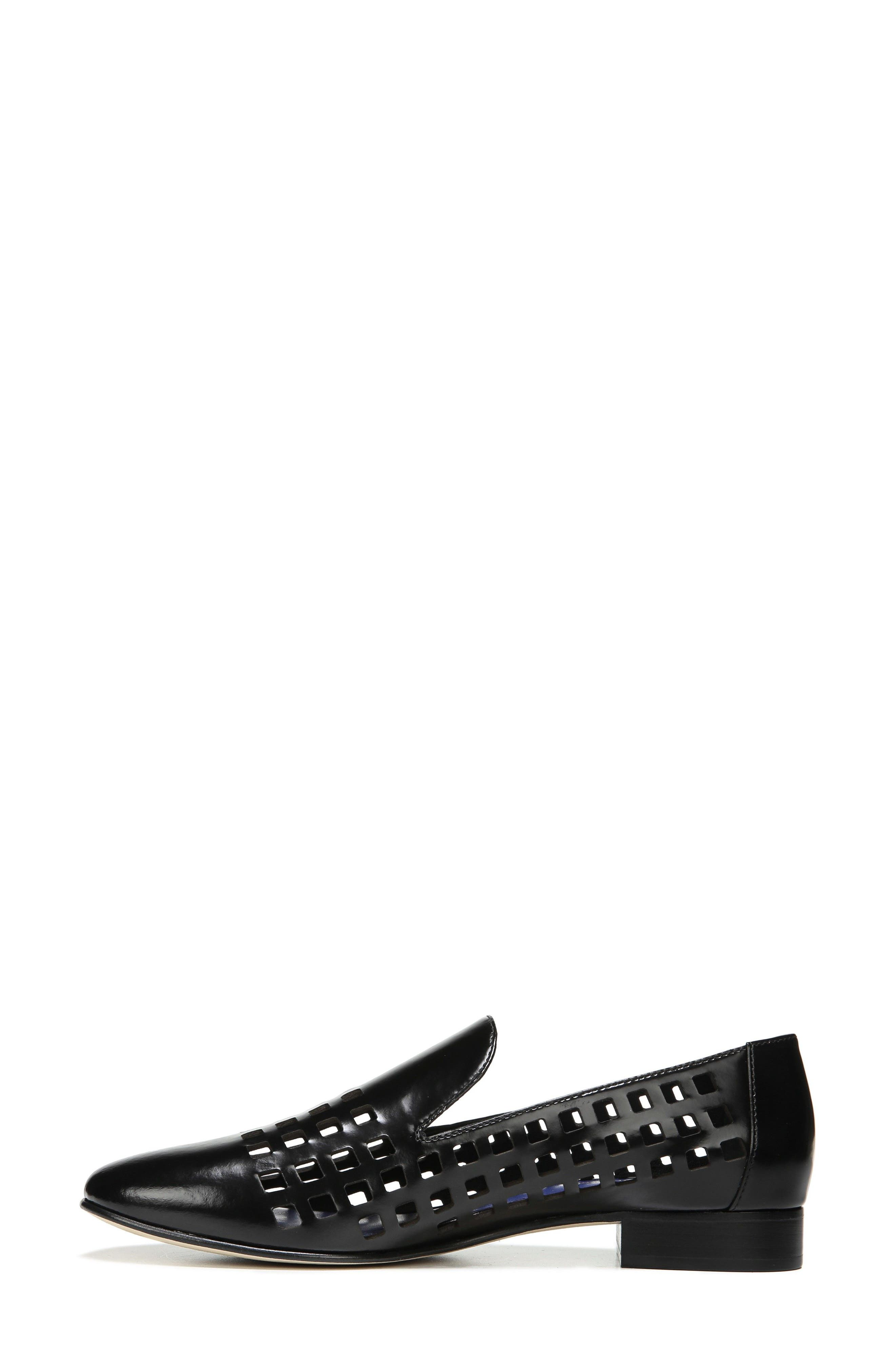 Linz Perforated Loafer,                             Alternate thumbnail 3, color,                             001