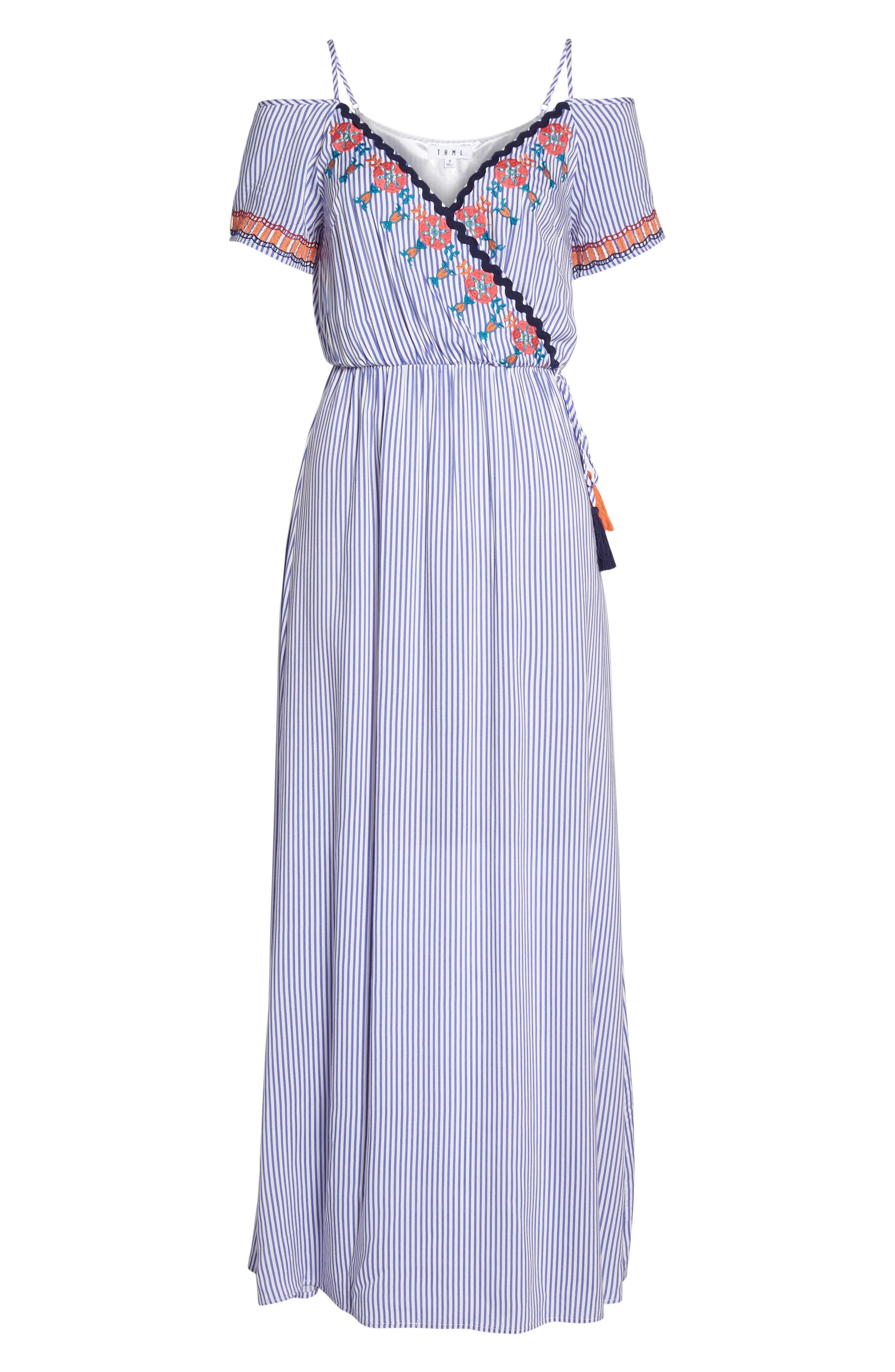 Stripe Cold Shoulder Maxi Dress,                             Alternate thumbnail 7, color,                             400